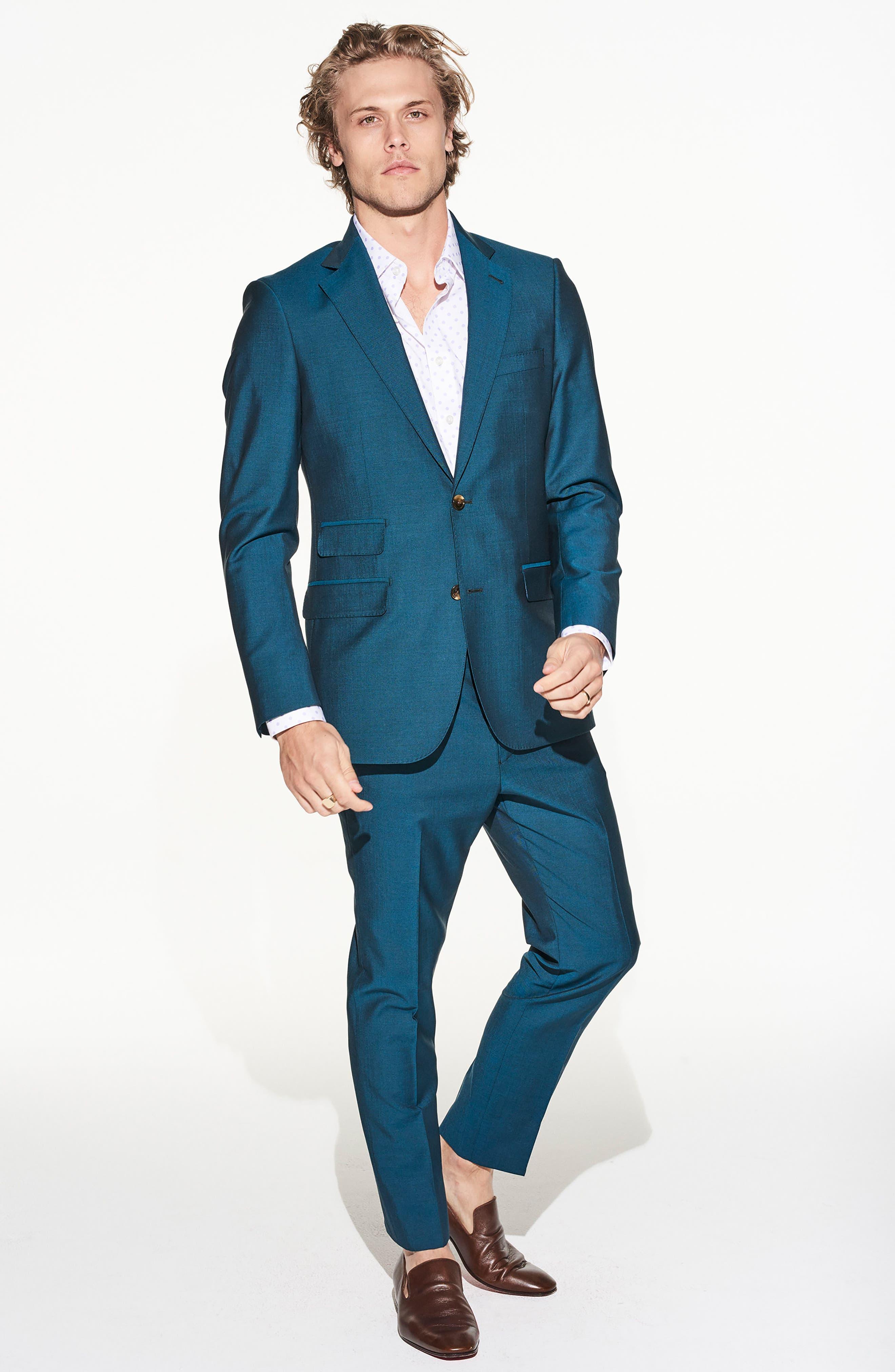 by Ilaria Urbinati Kilgore Slim Fit Solid Wool & Mohair Suit,                             Alternate thumbnail 2, color,                             Blue Teal