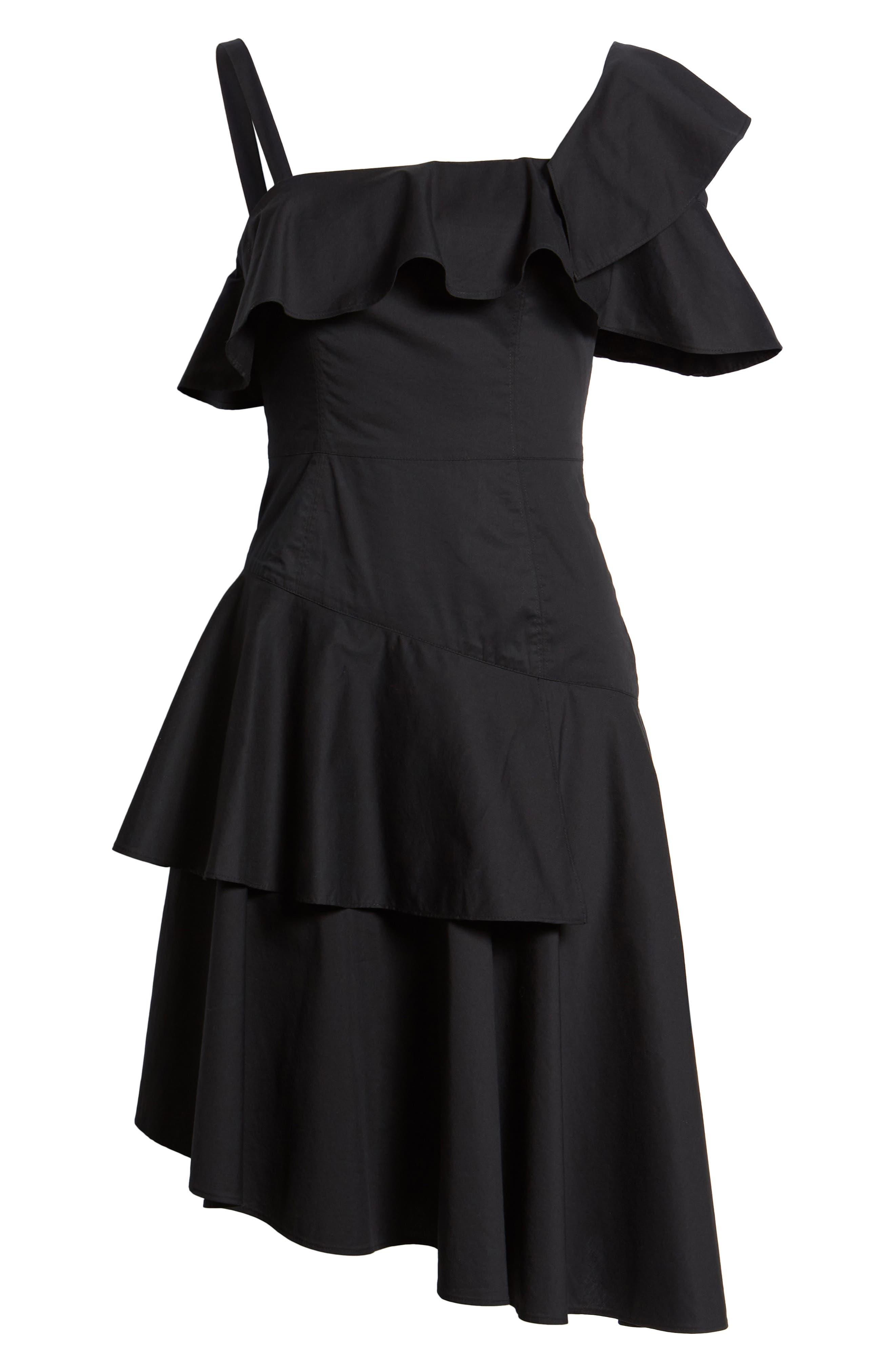 Ruffle One-Shoulder Dress,                             Alternate thumbnail 8, color,                             Black