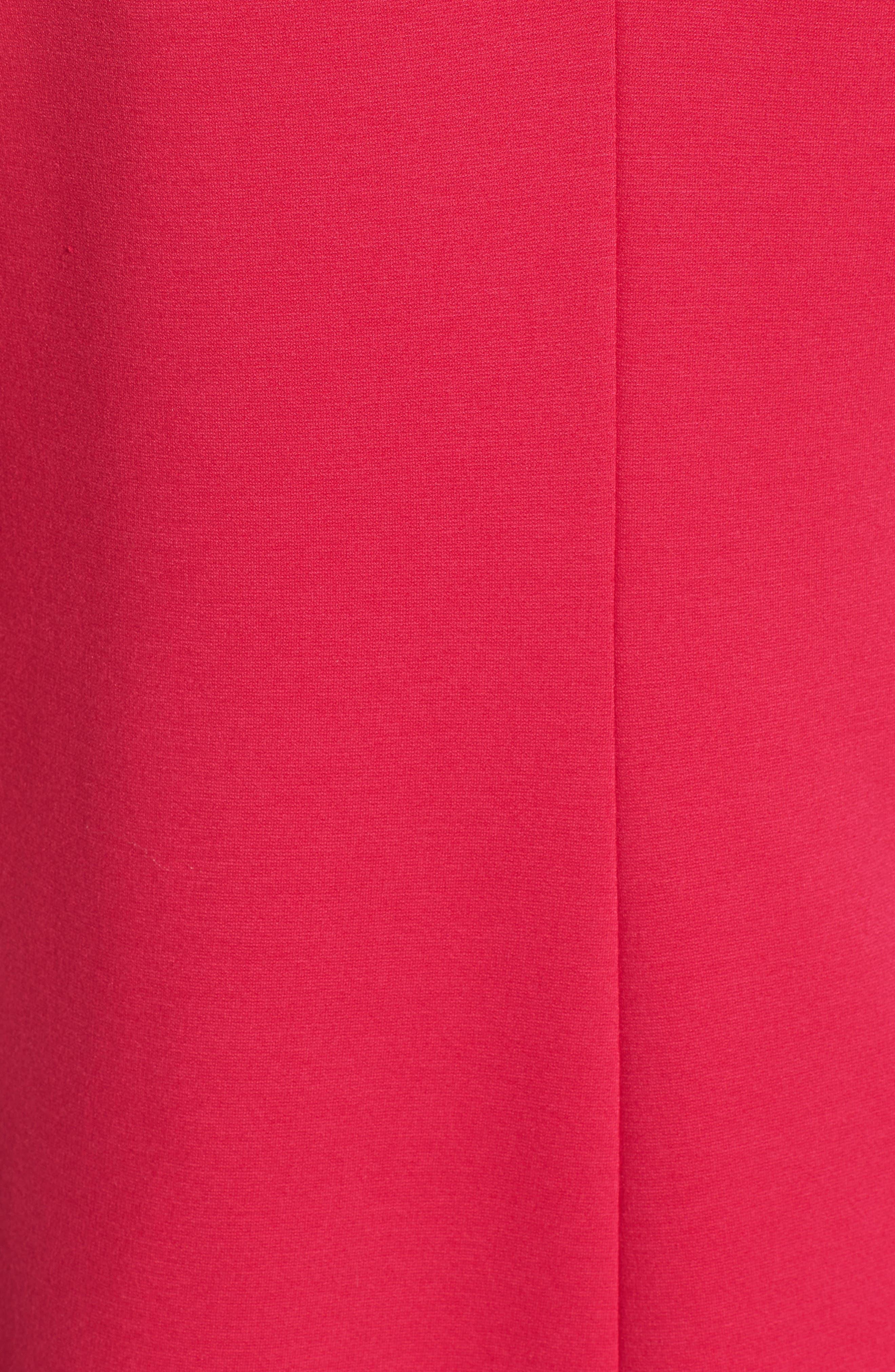 Button Back Ponte Dress,                             Alternate thumbnail 5, color,                             Fuschia