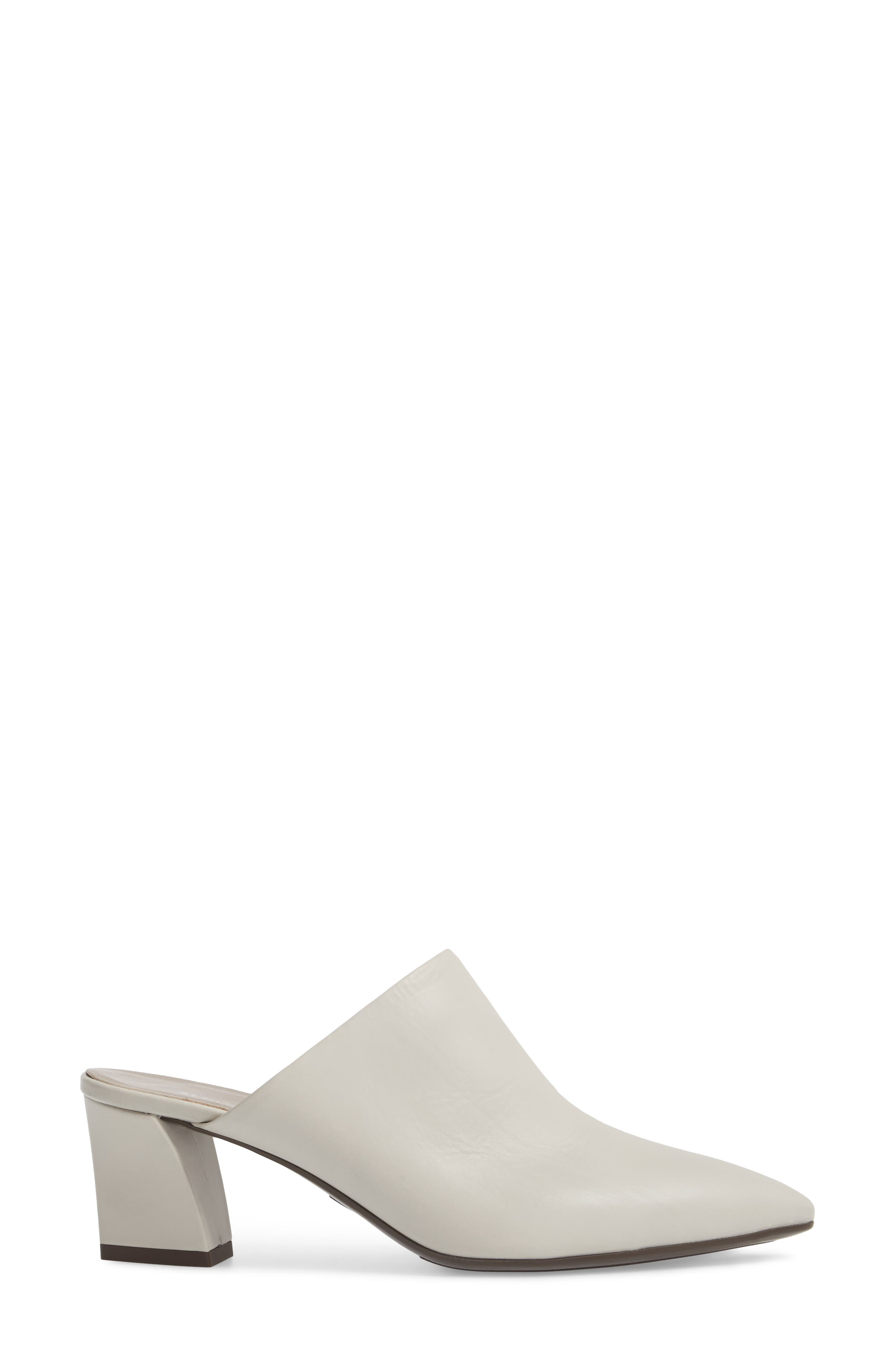 Pointy Toe Mule,                             Alternate thumbnail 3, color,                             Off White Leather