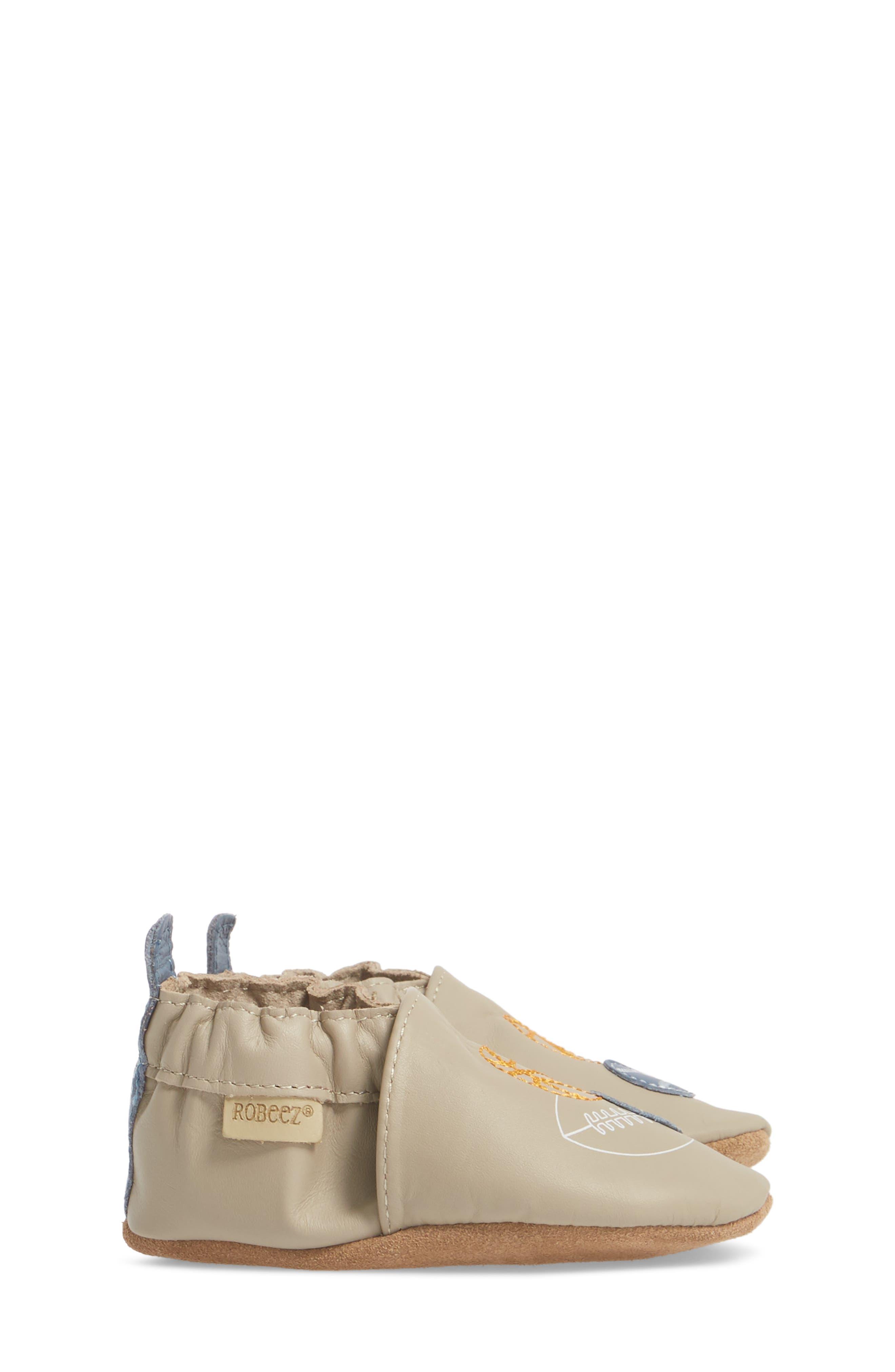 Dream Big Moccasin Crib Shoe,                             Alternate thumbnail 4, color,                             Taupe