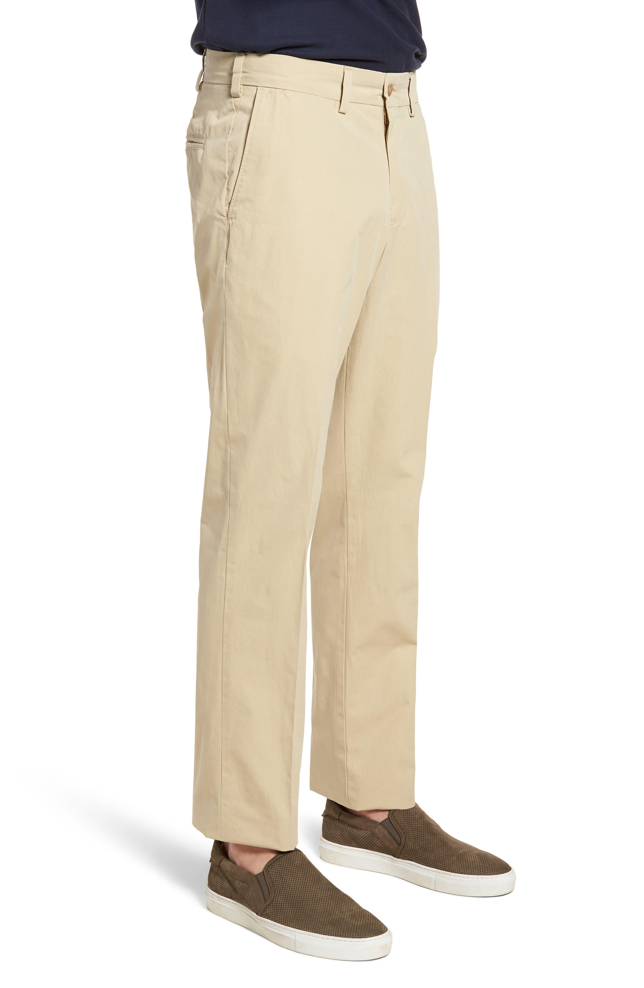 M3 Straight Fit Flat Front Tropical Poplin Pants,                             Alternate thumbnail 3, color,                             Khaki