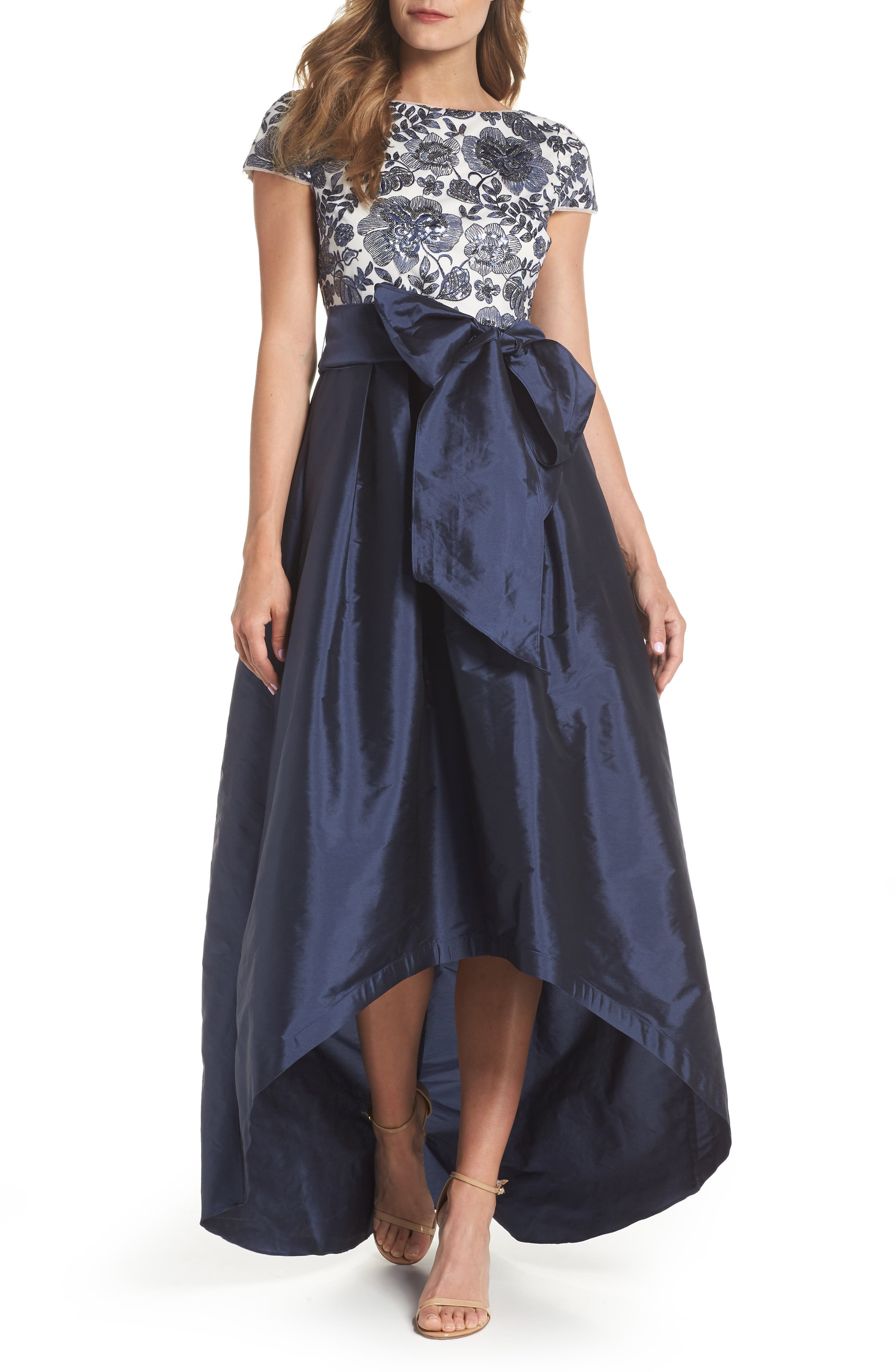 Sequin Bodice High/Low Ballgown,                         Main,                         color, Midnight/ Ivory