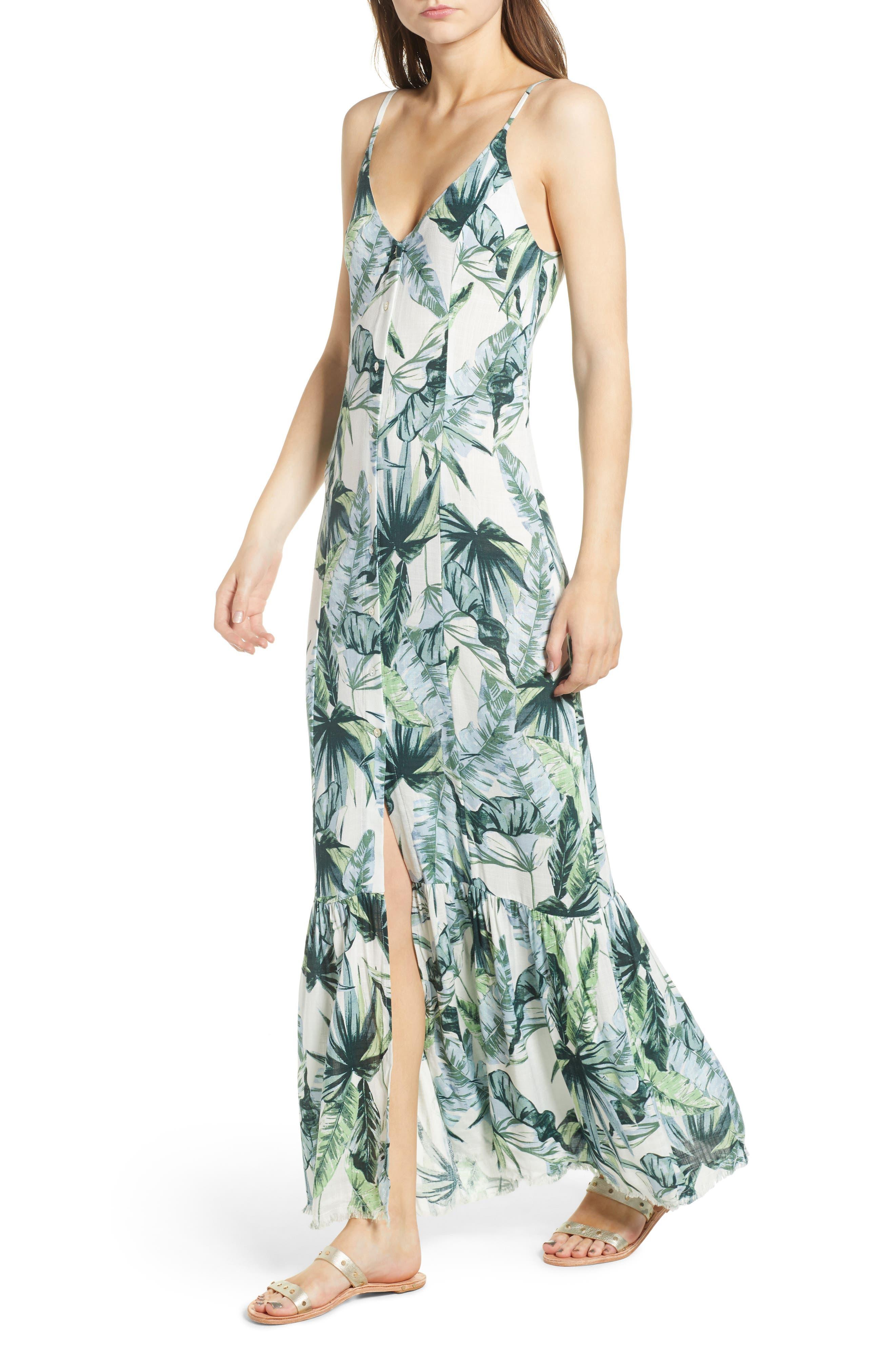 Palm Print Fringe Hem Maxi Dress,                         Main,                         color, Multi