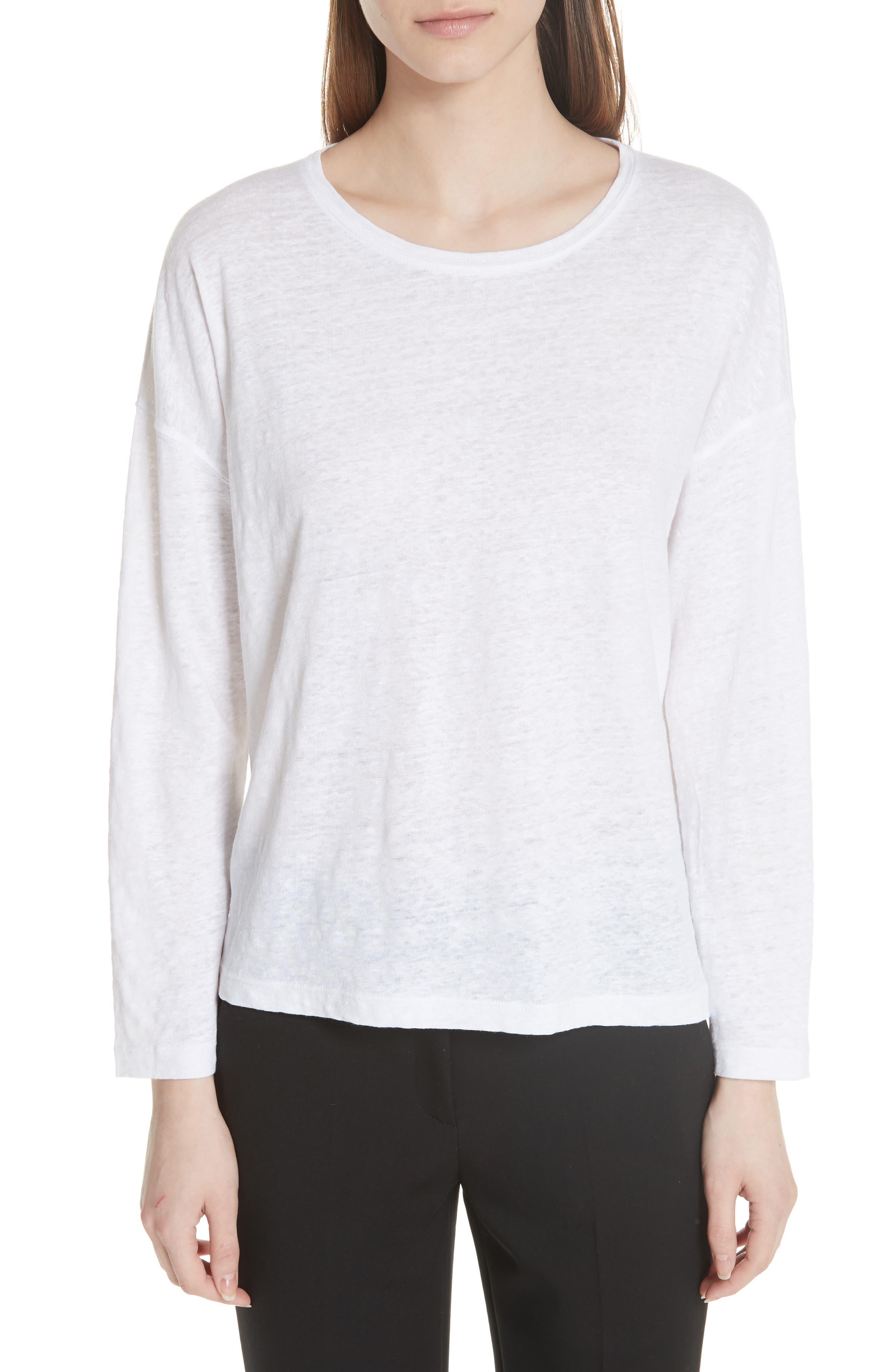 Shrunken Linen Long Sleeve Top,                         Main,                         color, Optic White