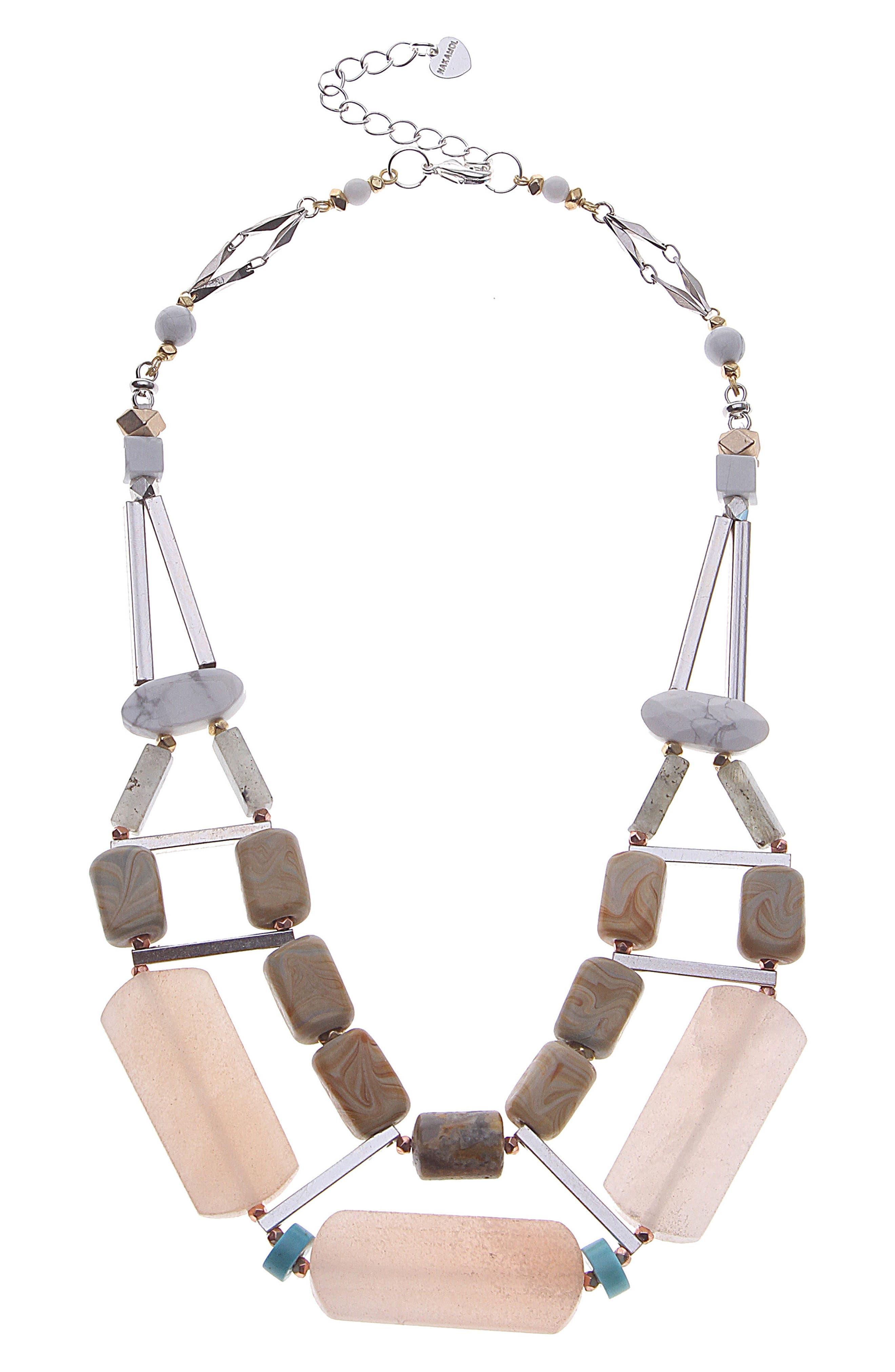 Semiprecious Stone Collar Necklace,                         Main,                         color, Creme Mix