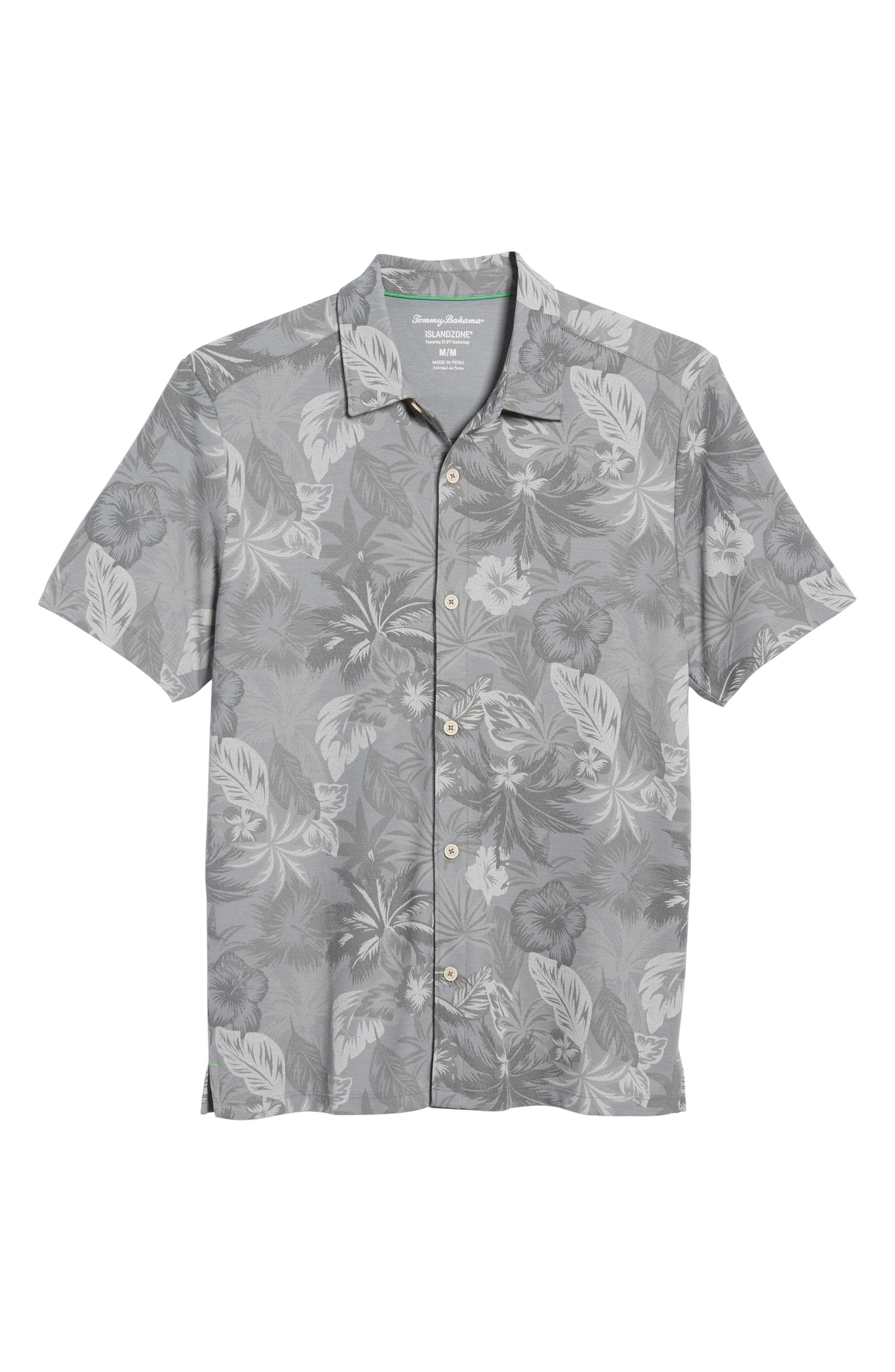 Fuego Floral Camp Shirt,                             Alternate thumbnail 6, color,                             Iced Slate