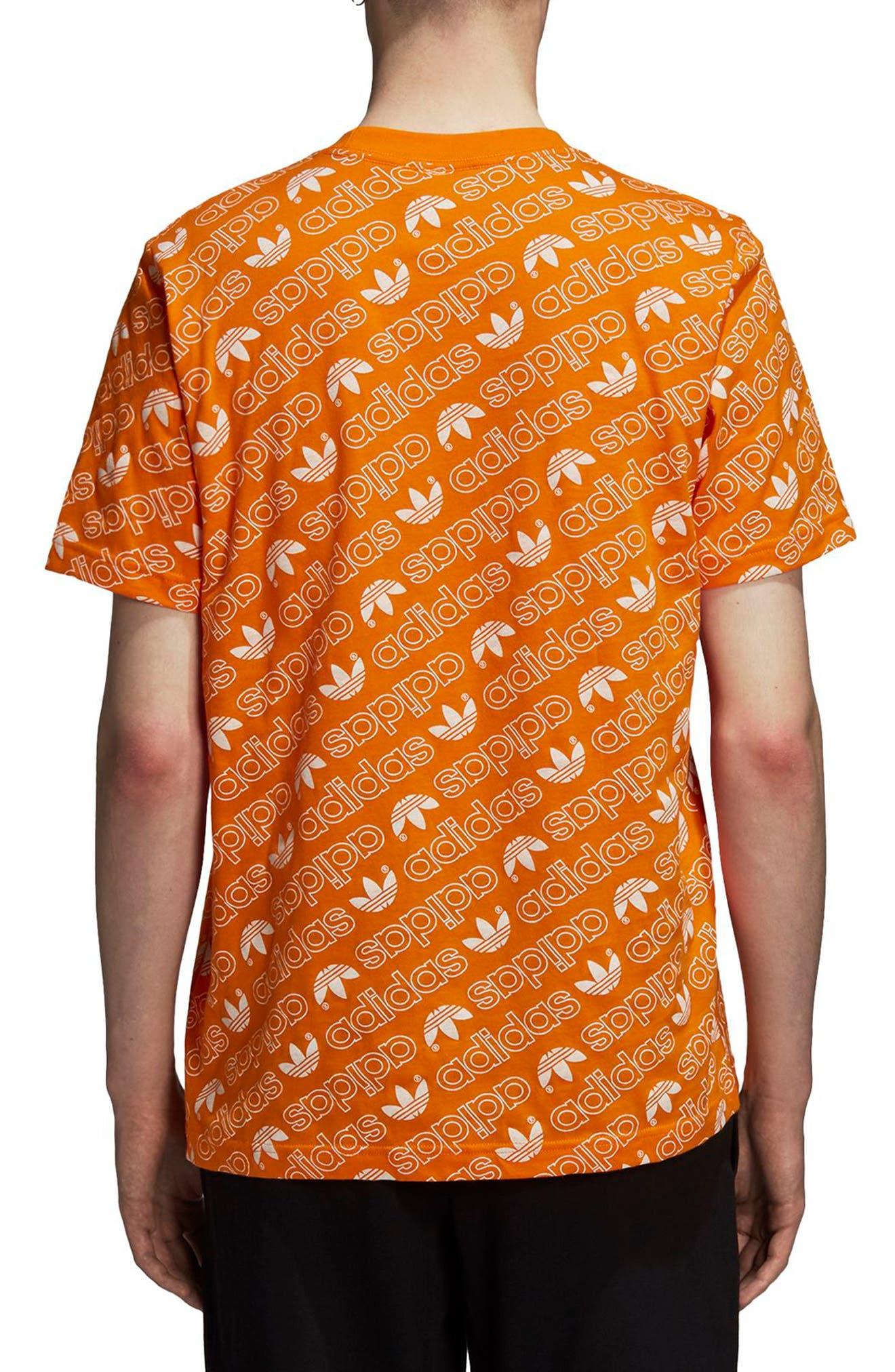 Monogram Allover Print T-Shirt,                             Alternate thumbnail 2, color,                             Bright Orange