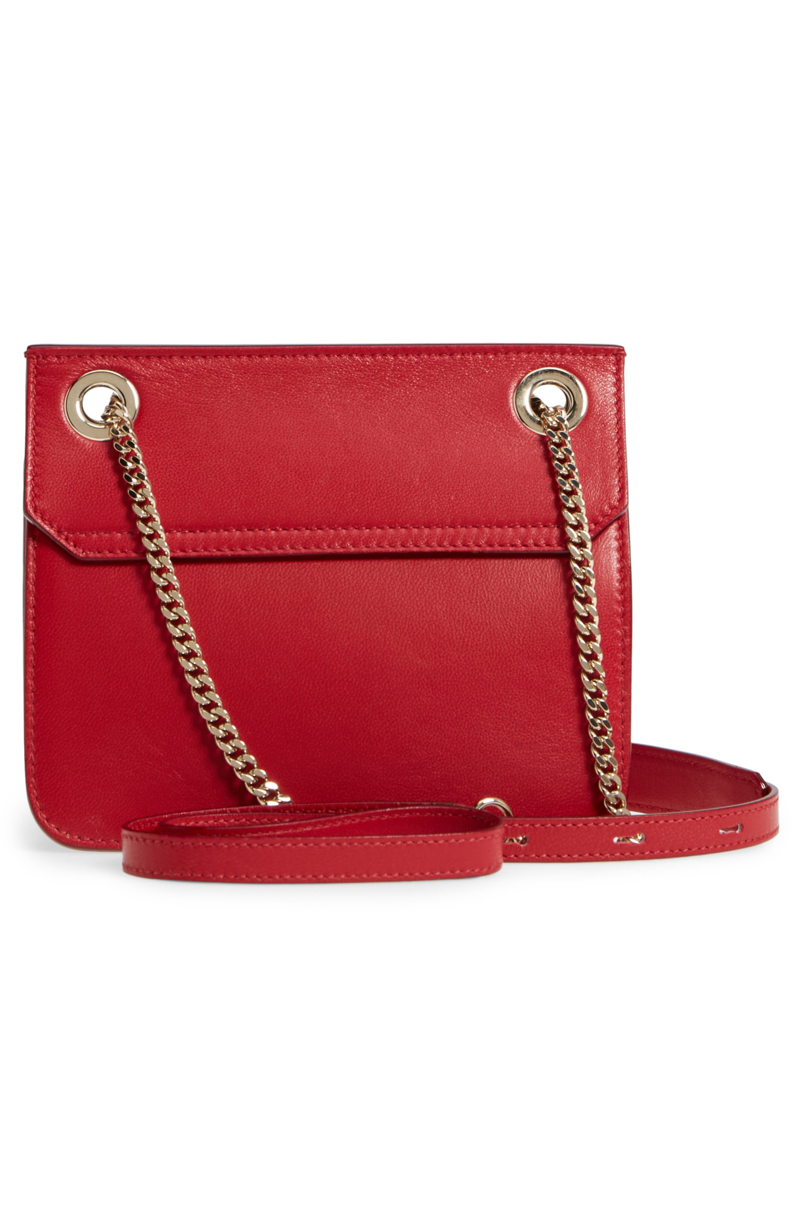 Rebel Mini Colorblock Leather Crossbody Bag,                             Alternate thumbnail 3, color,                             Red/ Rosewater
