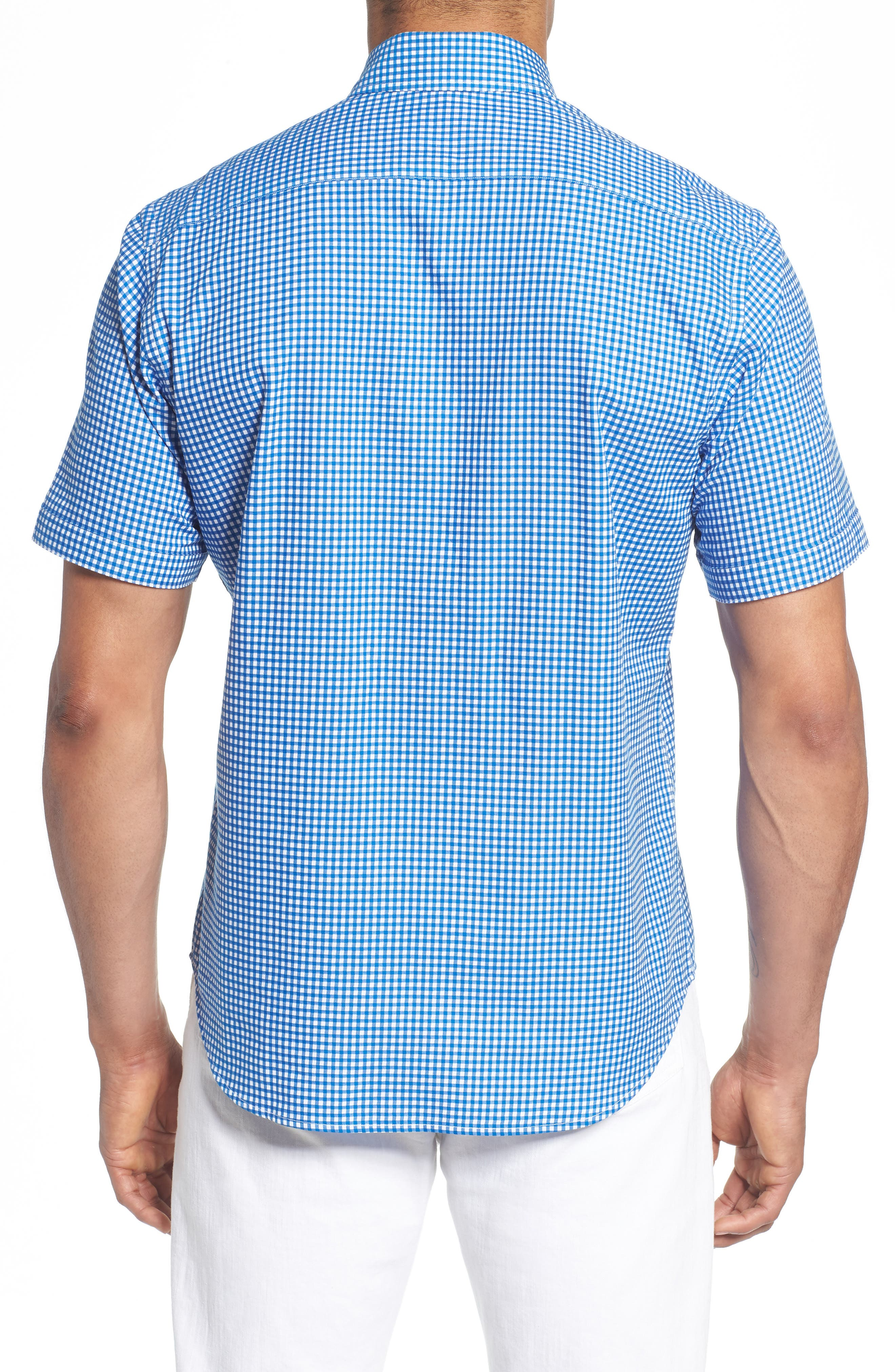 Abel Regular Fit Mini Check Sport Shirt,                             Alternate thumbnail 3, color,                             Royal