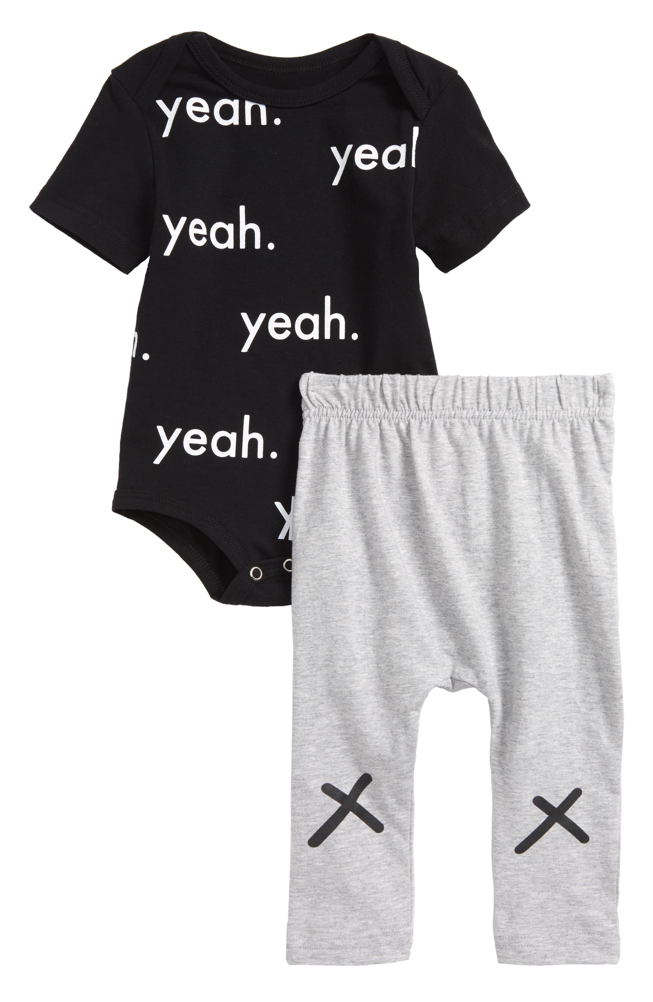 Yeah Bodysuit & Pants Set,                             Main thumbnail 1, color,                             Black/ Grey