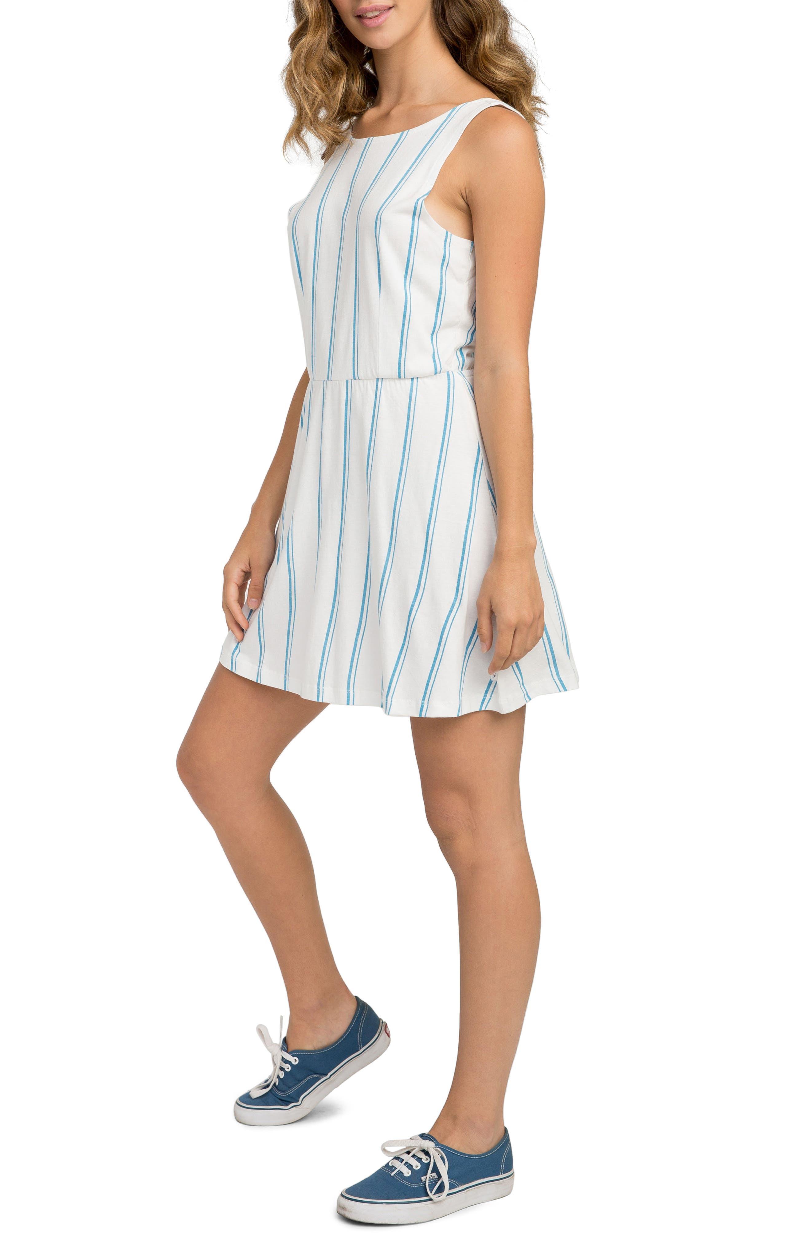 Peony Stripe Sundress,                             Alternate thumbnail 4, color,                             Vintage White