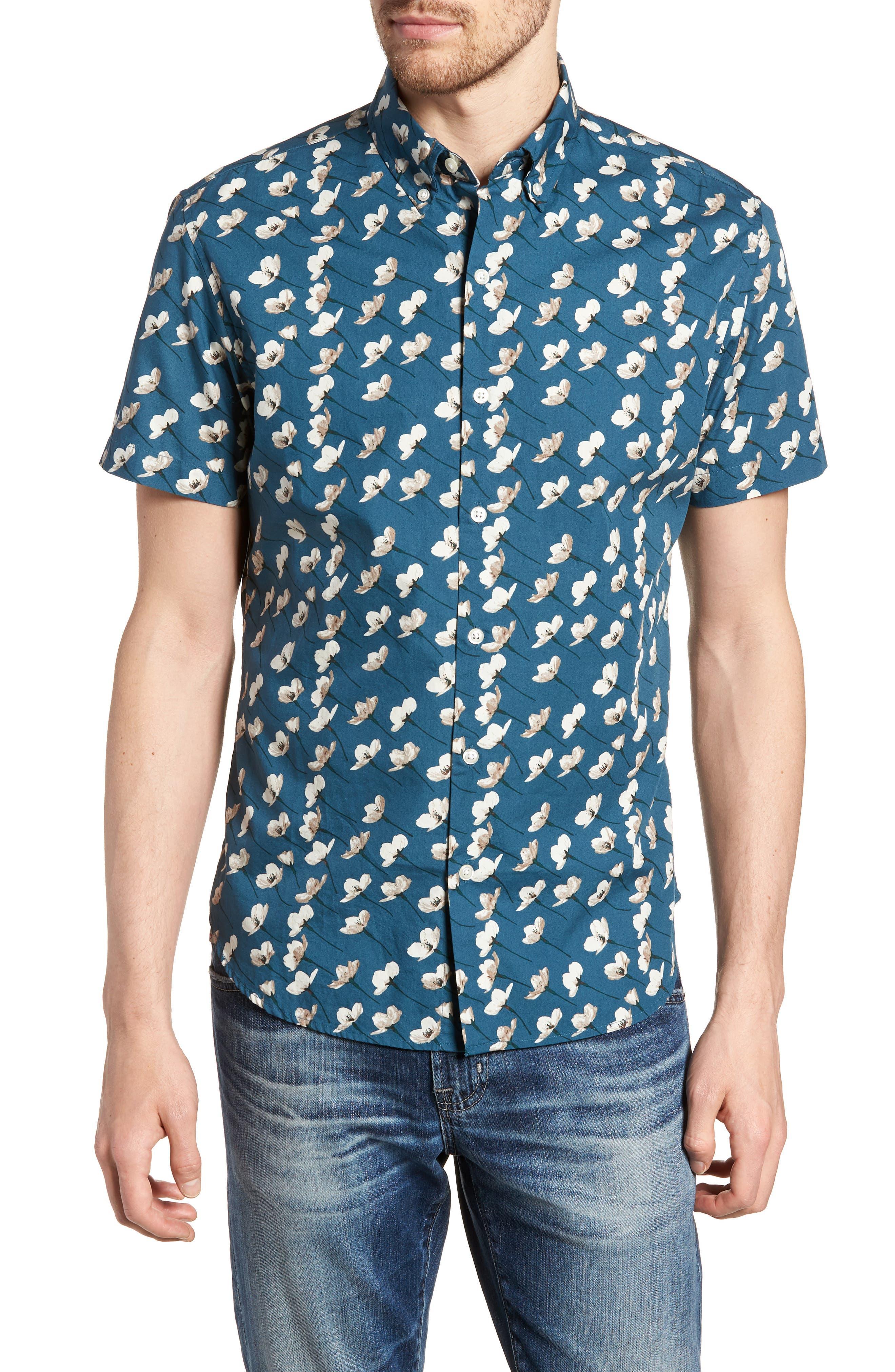 Riviera Slim Fit Cherry Blossom Print Sport Shirt,                         Main,                         color, Cherry Blossoms-Stargazer