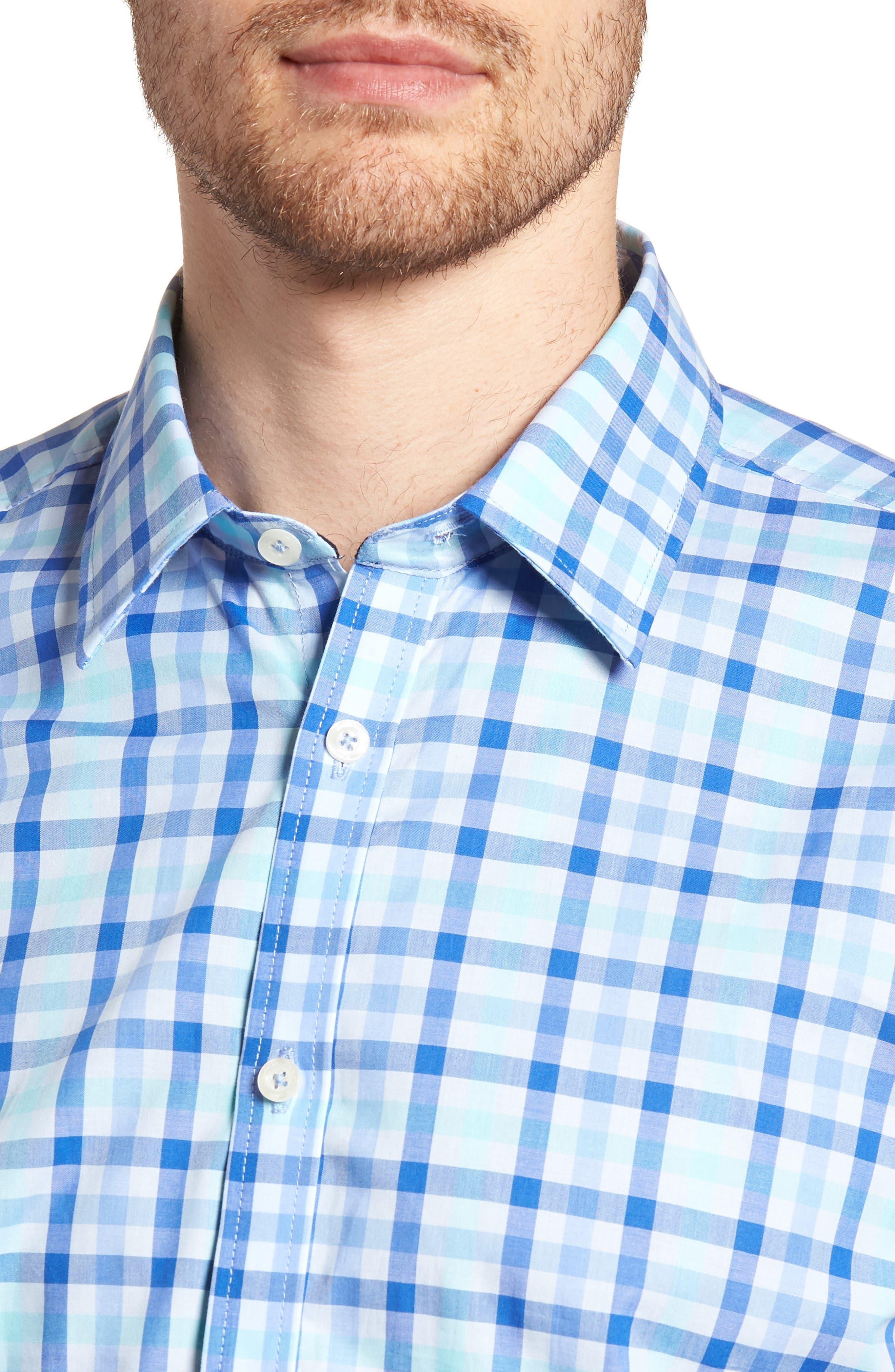 Slim Fit Check Sport Shirt,                             Alternate thumbnail 2, color,                             Medium Blue