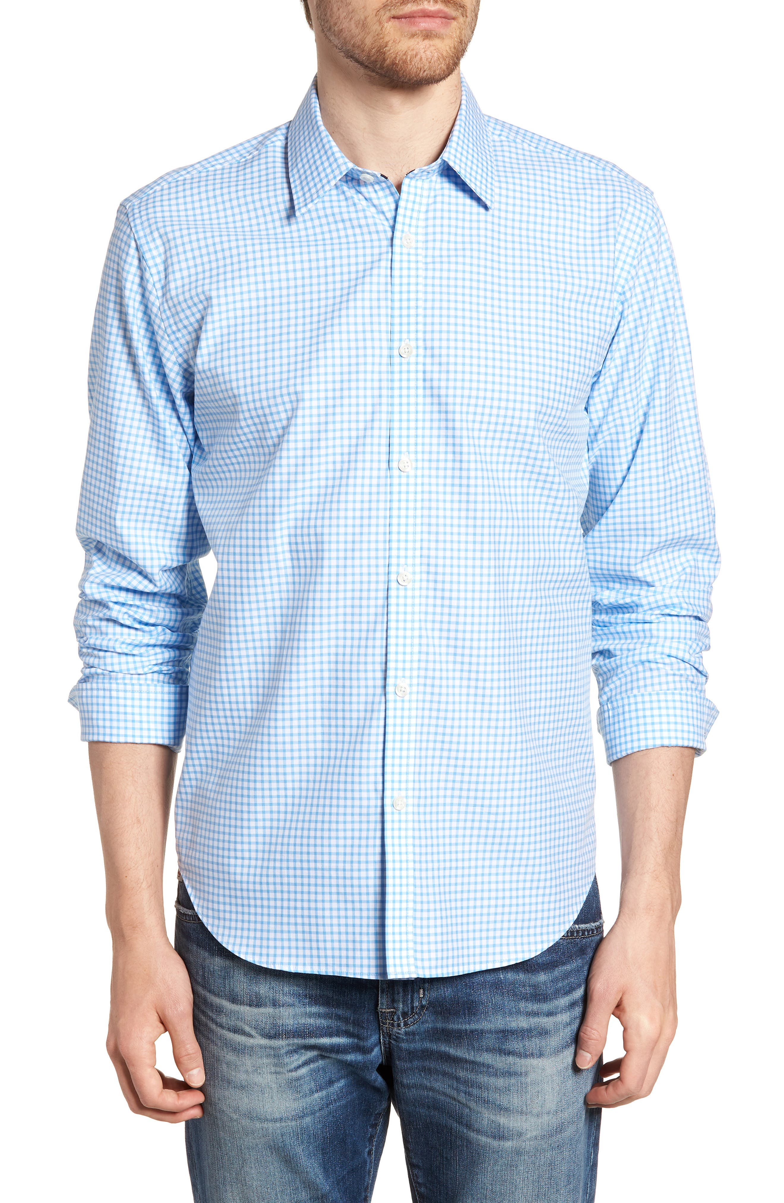 Slim Fit Check Sport Shirt,                             Main thumbnail 1, color,                             Light Blue