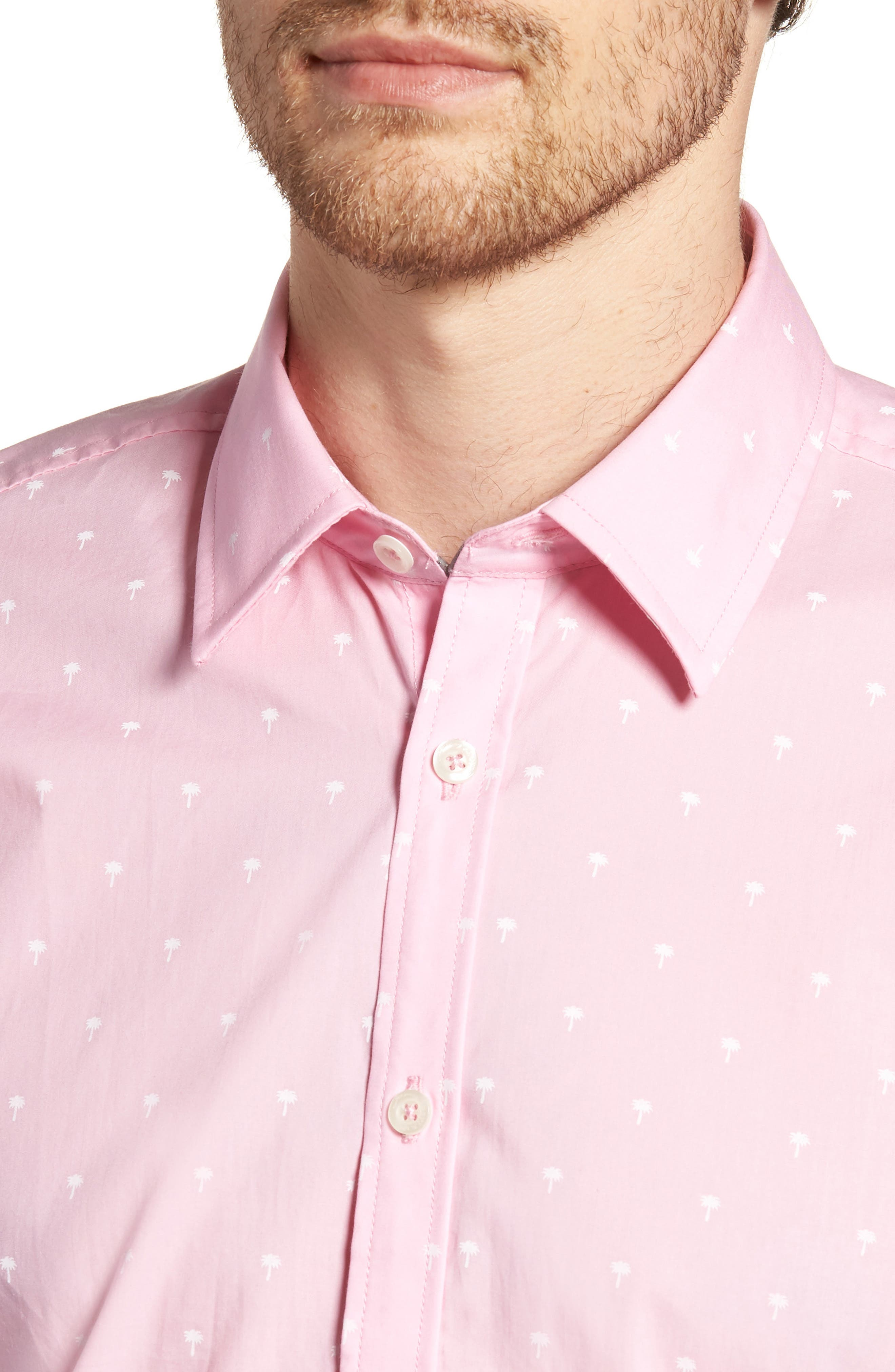 Comfort Fit Palm Print Sport Shirt,                             Alternate thumbnail 2, color,                             Light Pink