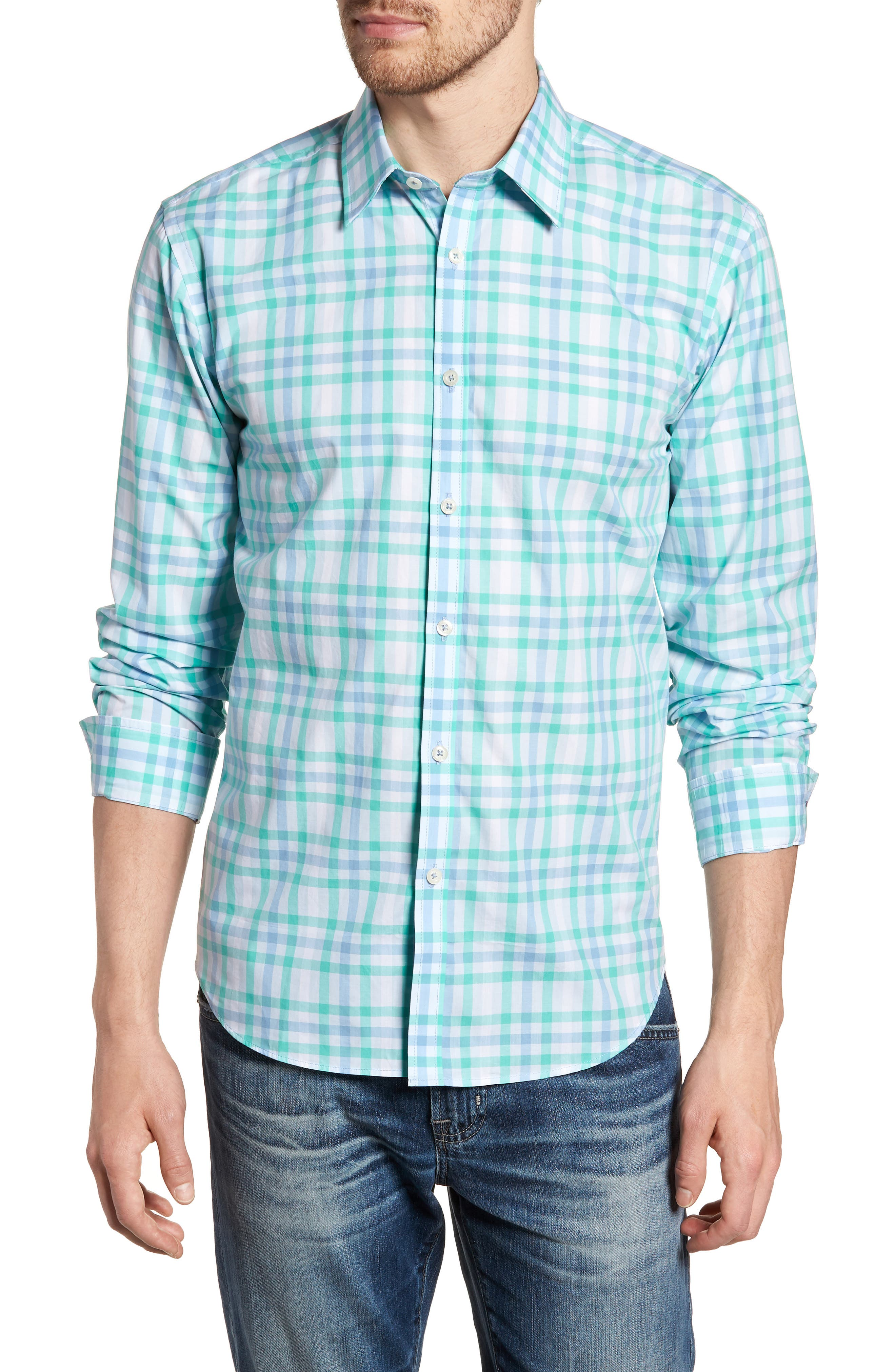 Slim Fit Check Sport Shirt,                         Main,                         color, Turquoise