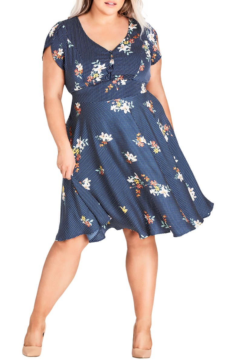City Chic SWEET SPOT FLORAL FIT & FLARE DRESS