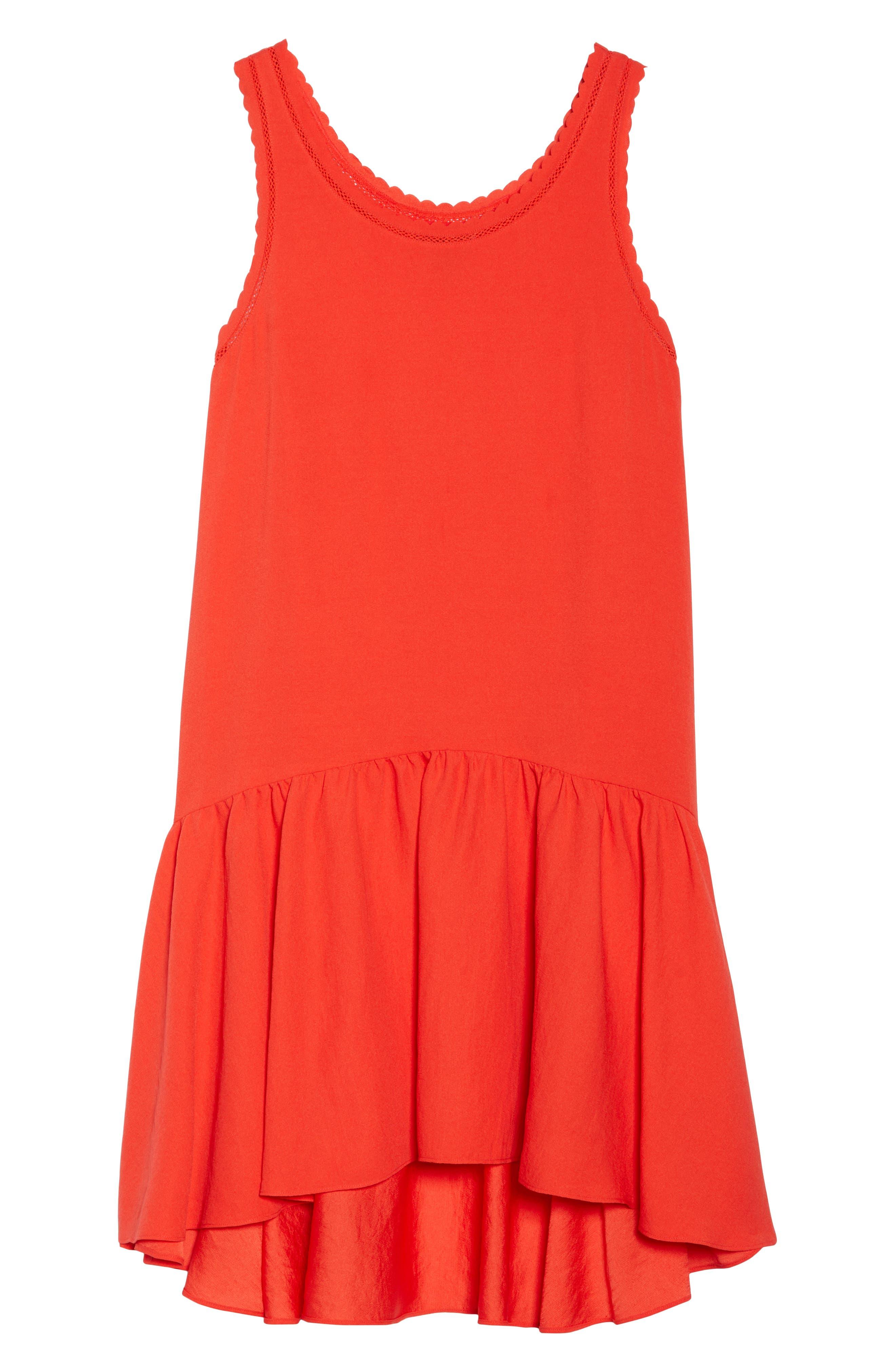 Ruffle Hem Swing Dress,                             Alternate thumbnail 7, color,                             Red Fiery