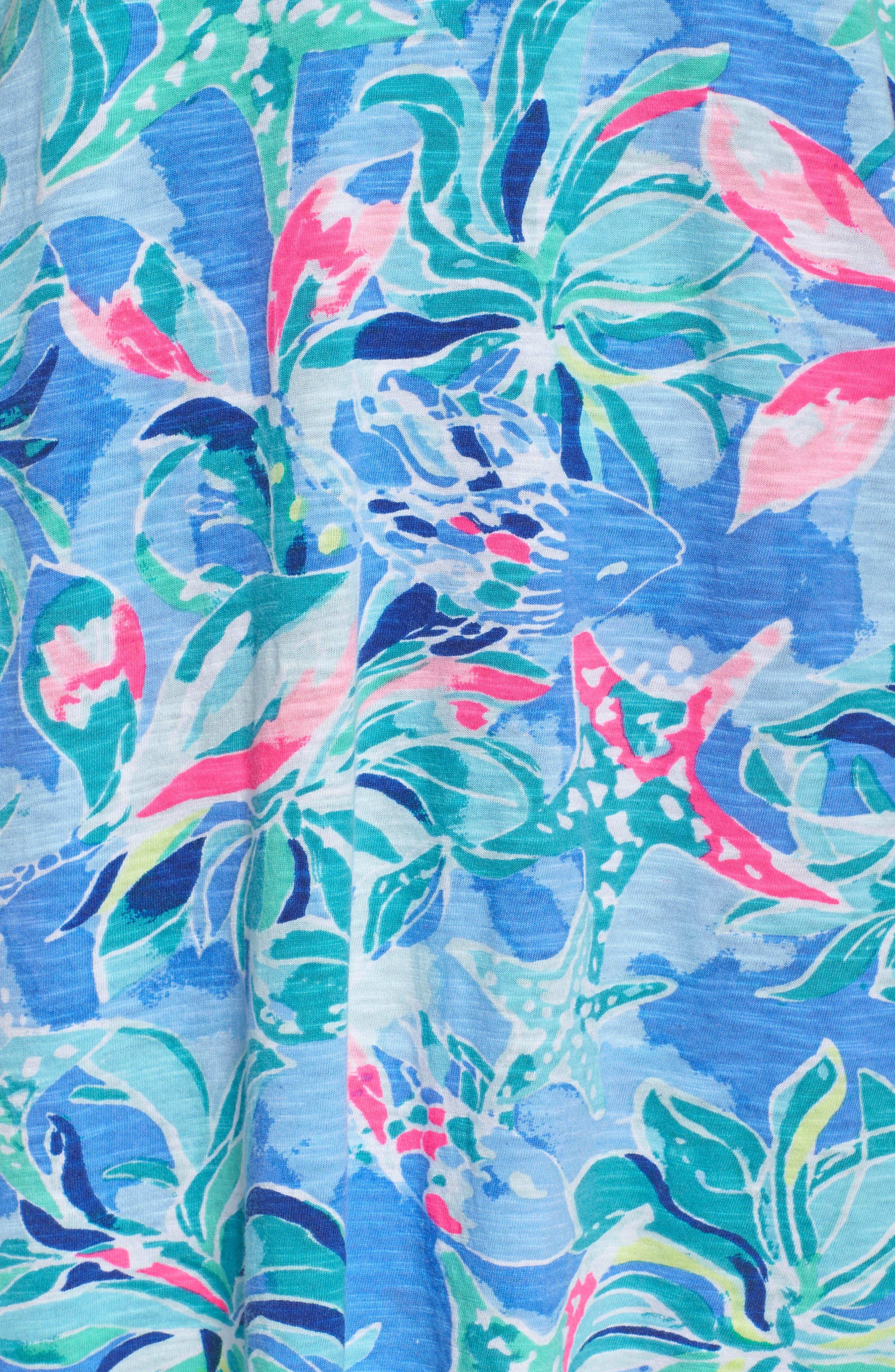 Shay Ruffle Halter Dress,                             Alternate thumbnail 5, color,                             Bennet Blue Celestial Seas