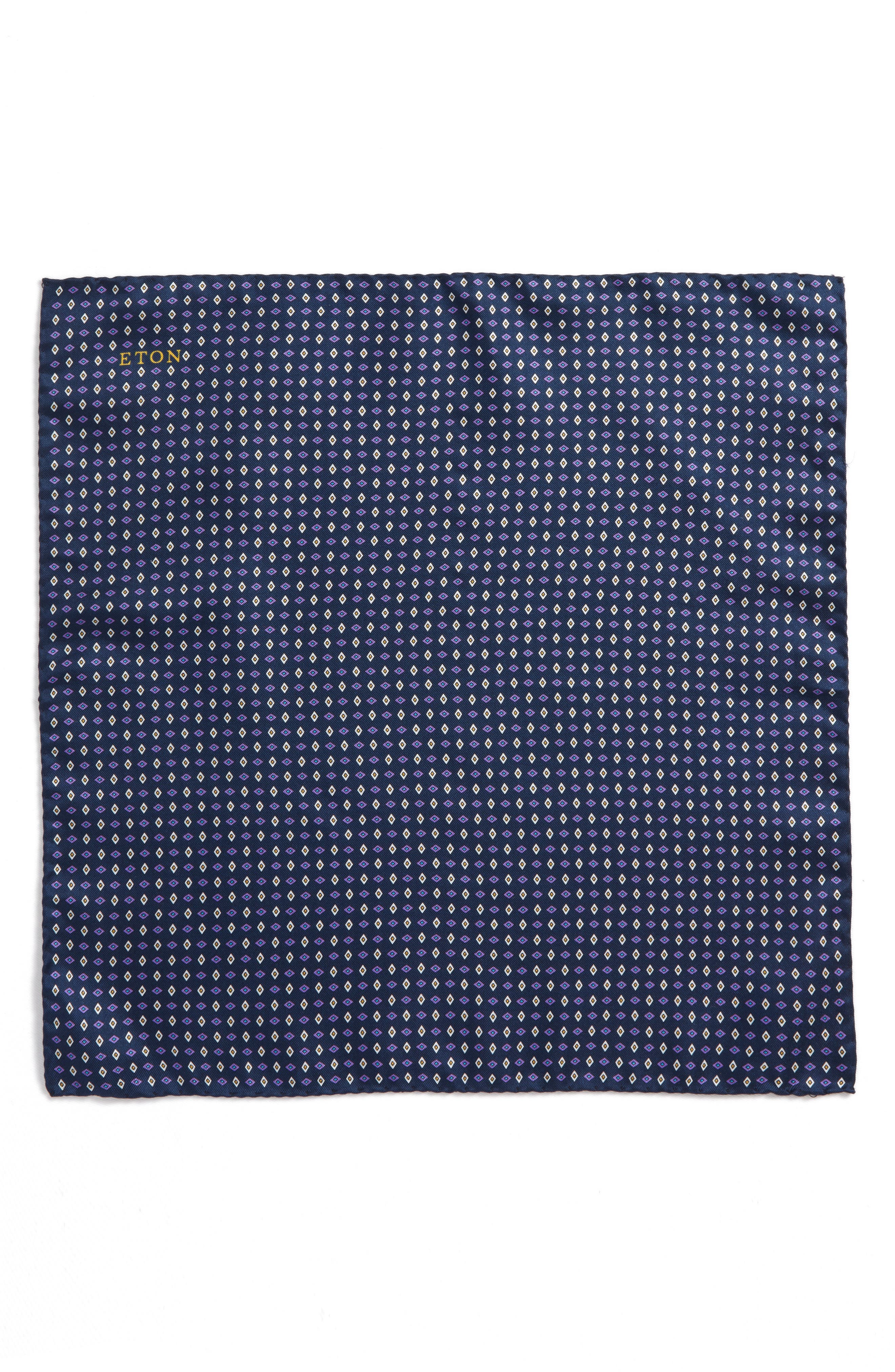 Geometric Grid Silk Pocket Square,                             Alternate thumbnail 2, color,                             Navy