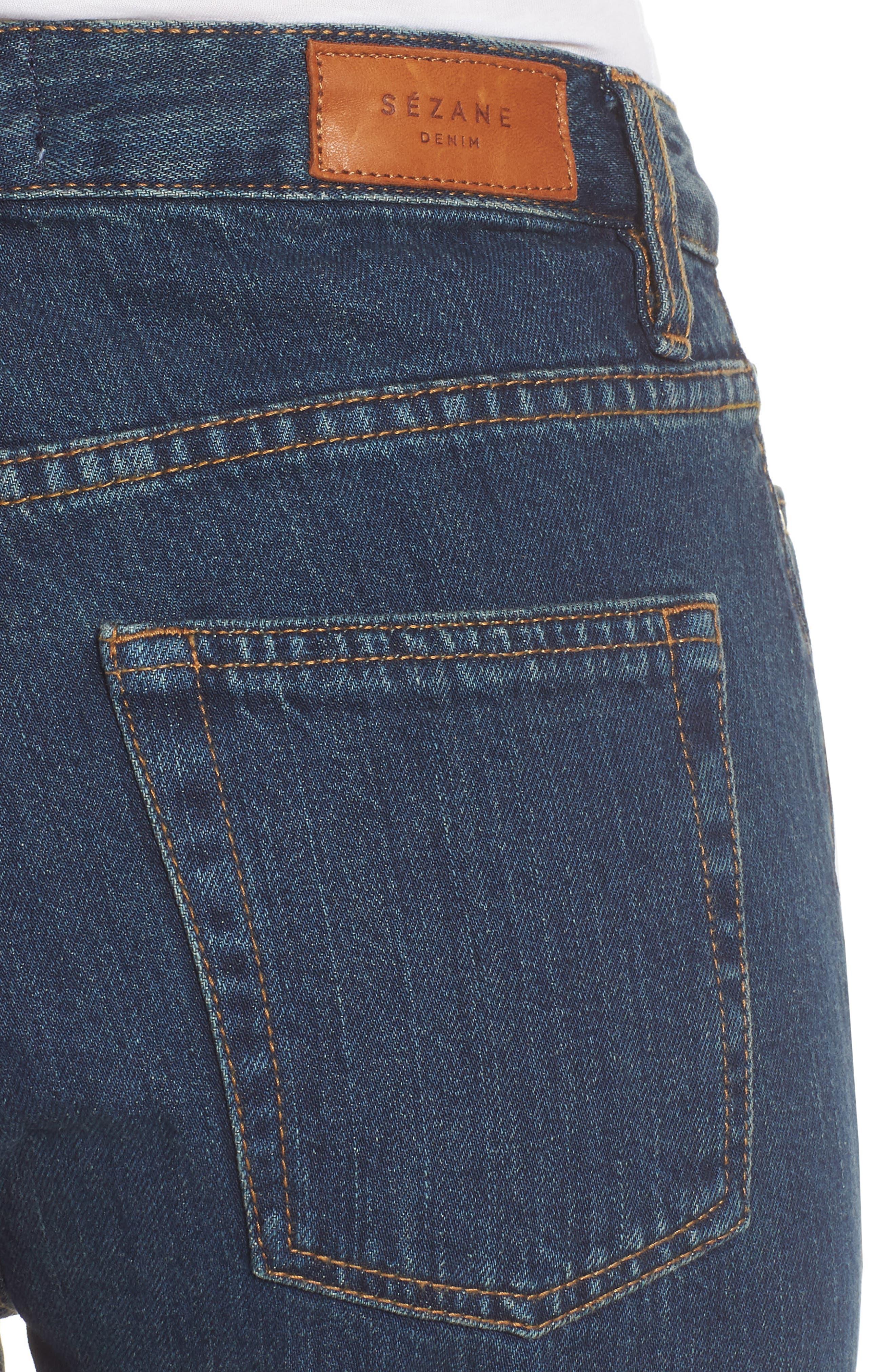 1970 The Flared Crop Jeans,                             Alternate thumbnail 4, color,                             Blue Denim