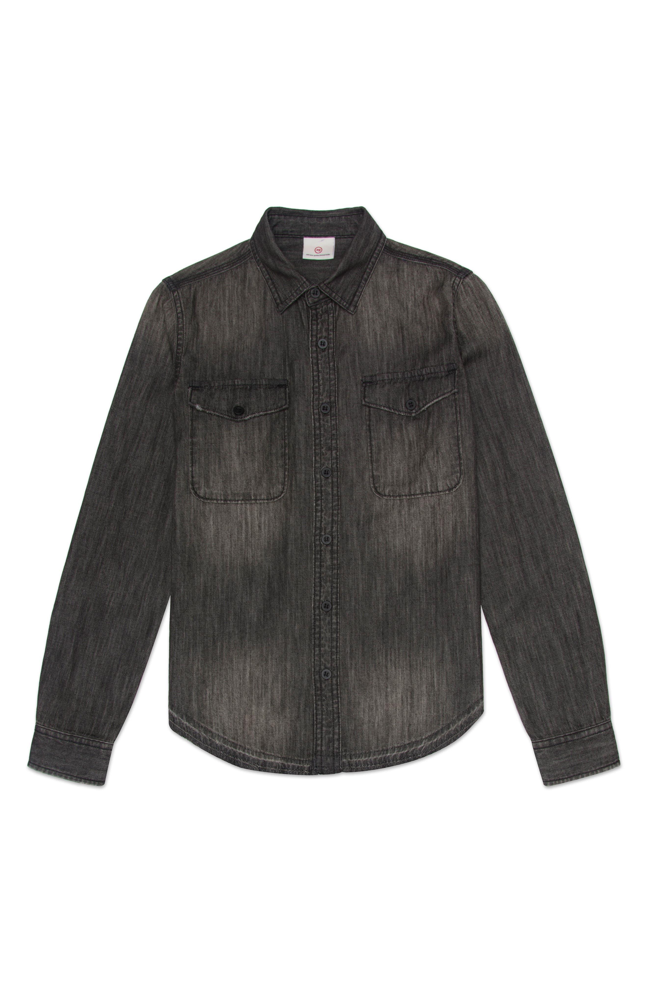 Bryson Chambray Shirt,                             Main thumbnail 1, color,                             Faded Black