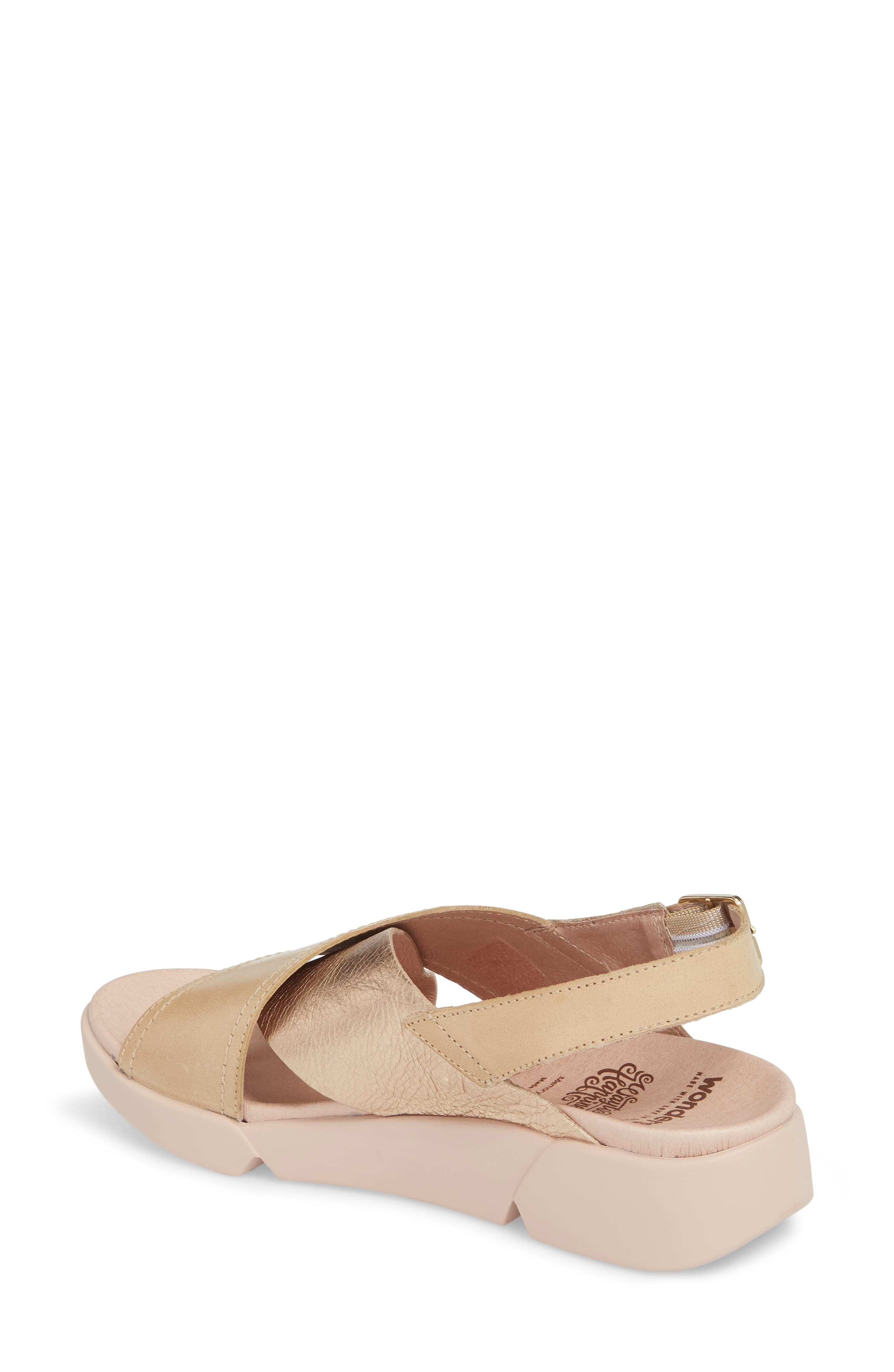 Platform Wedge Sandal,                             Alternate thumbnail 2, color,                             Oro/ Taupe Leather