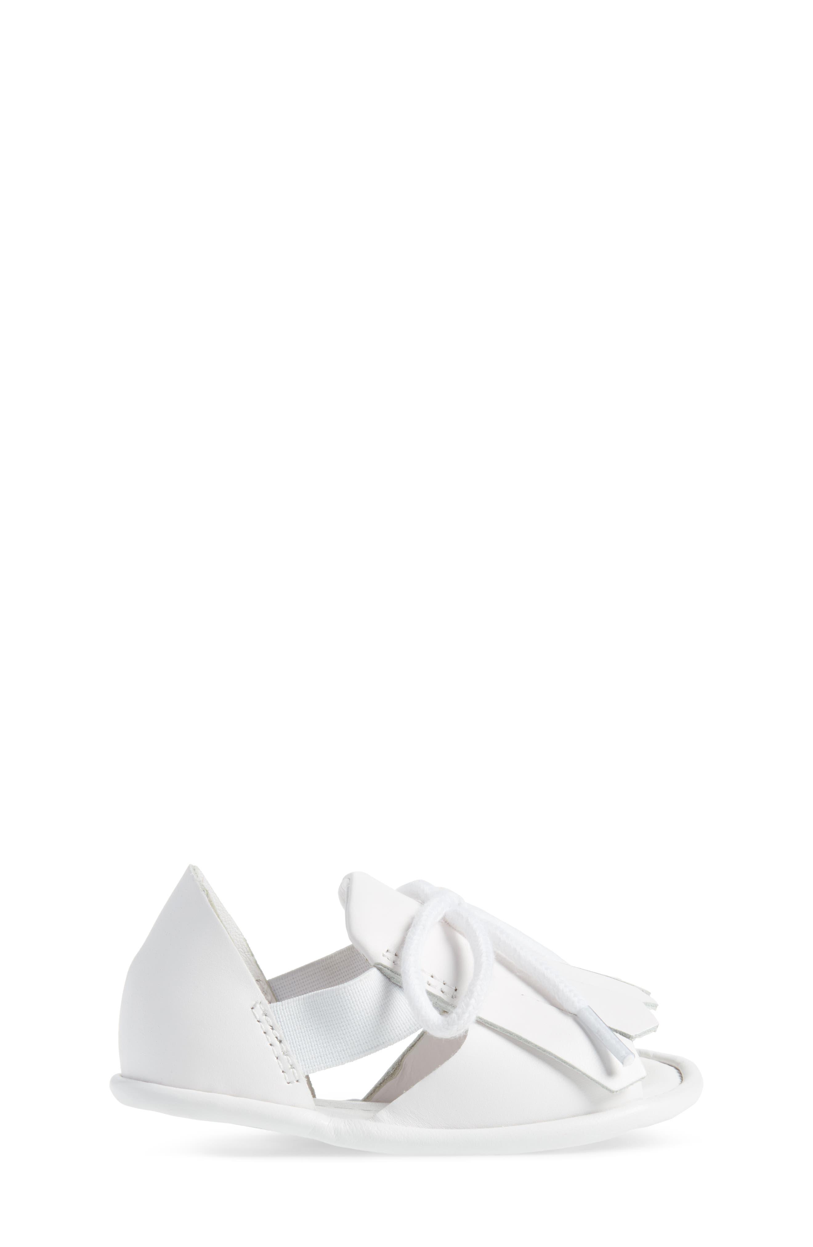 New Dawny Kiltie Fringe Crib Sandal,                             Alternate thumbnail 3, color,                             Optic White