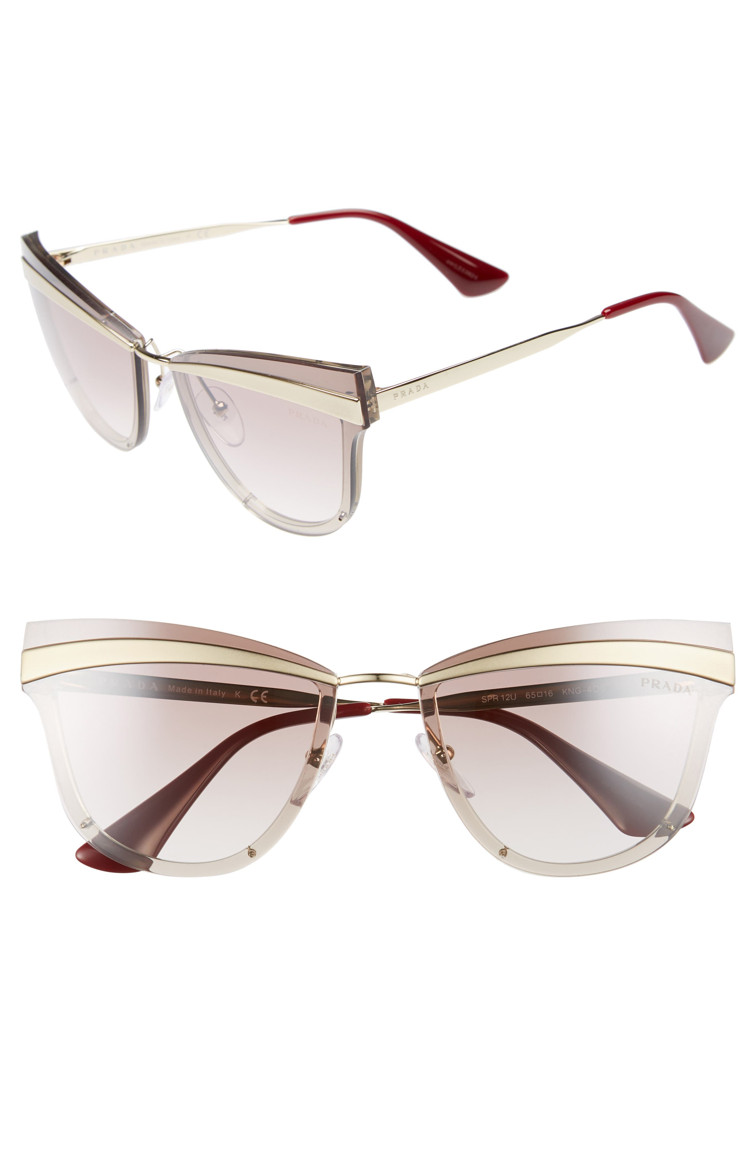 Cinema Evolution 65mm Cat Eye Sunglasses,                         Main,                         color, Beige Gradient Mirror
