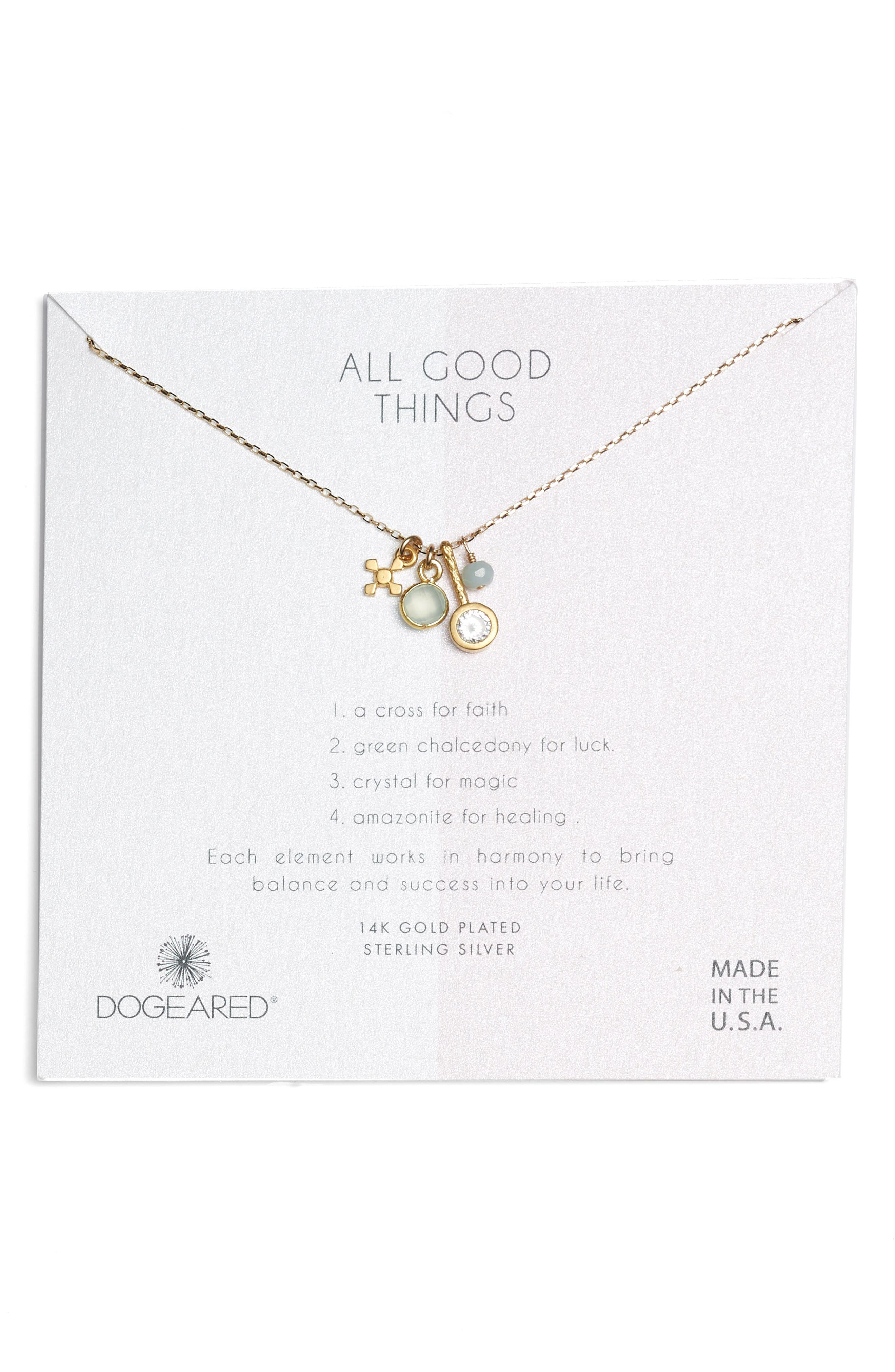 DOGEARED ALL GOOD THINGS GREEN CHALCEDONY PENDANT NECKLACE