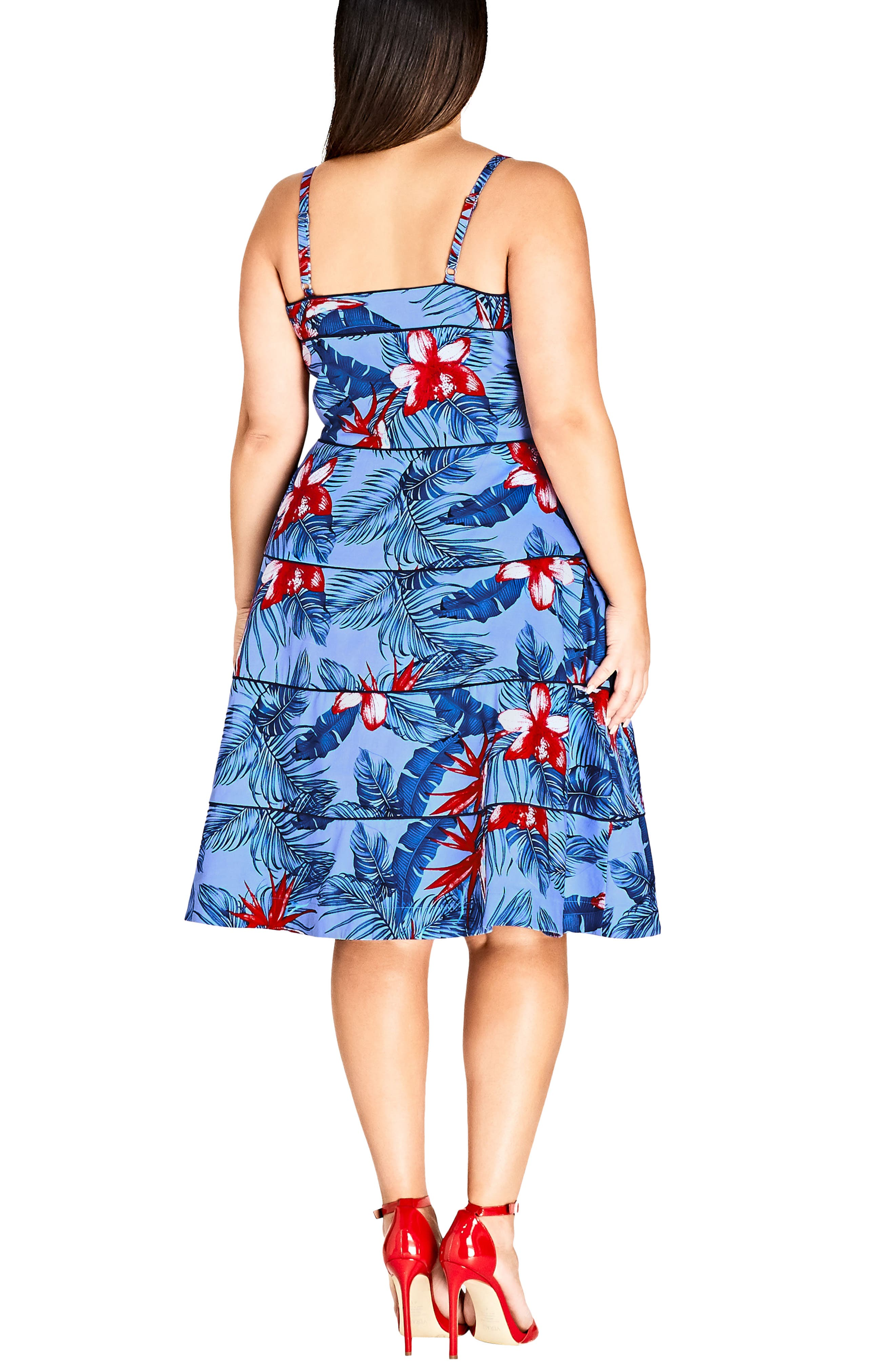 Love Hawaii Fit & Flare Dress,                             Alternate thumbnail 2, color,                             Hawaiian Love