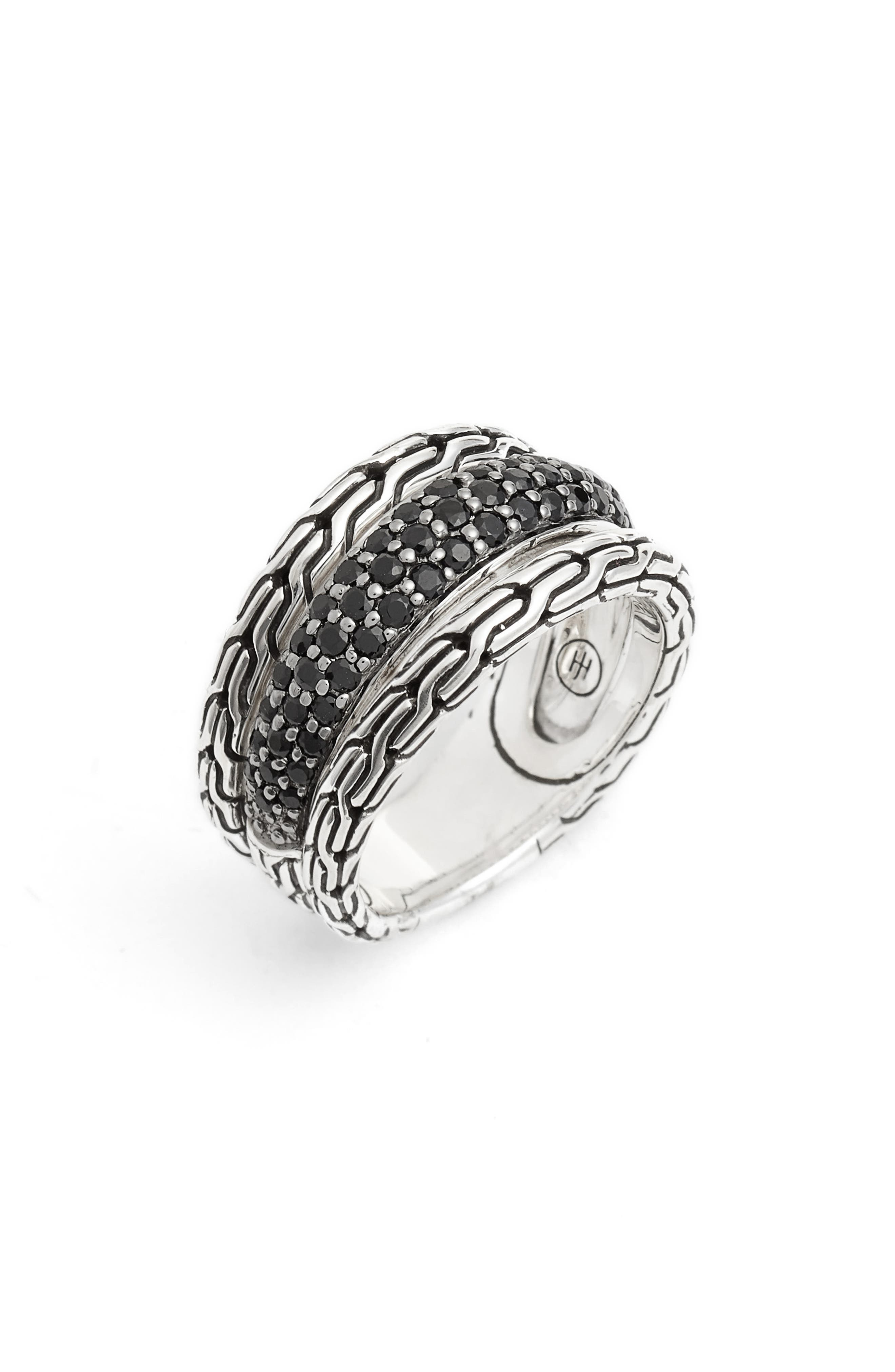 Sterling Silver Classic Chain Black Sapphire & Black Spinel Ring in Silver/ Black Sapphire