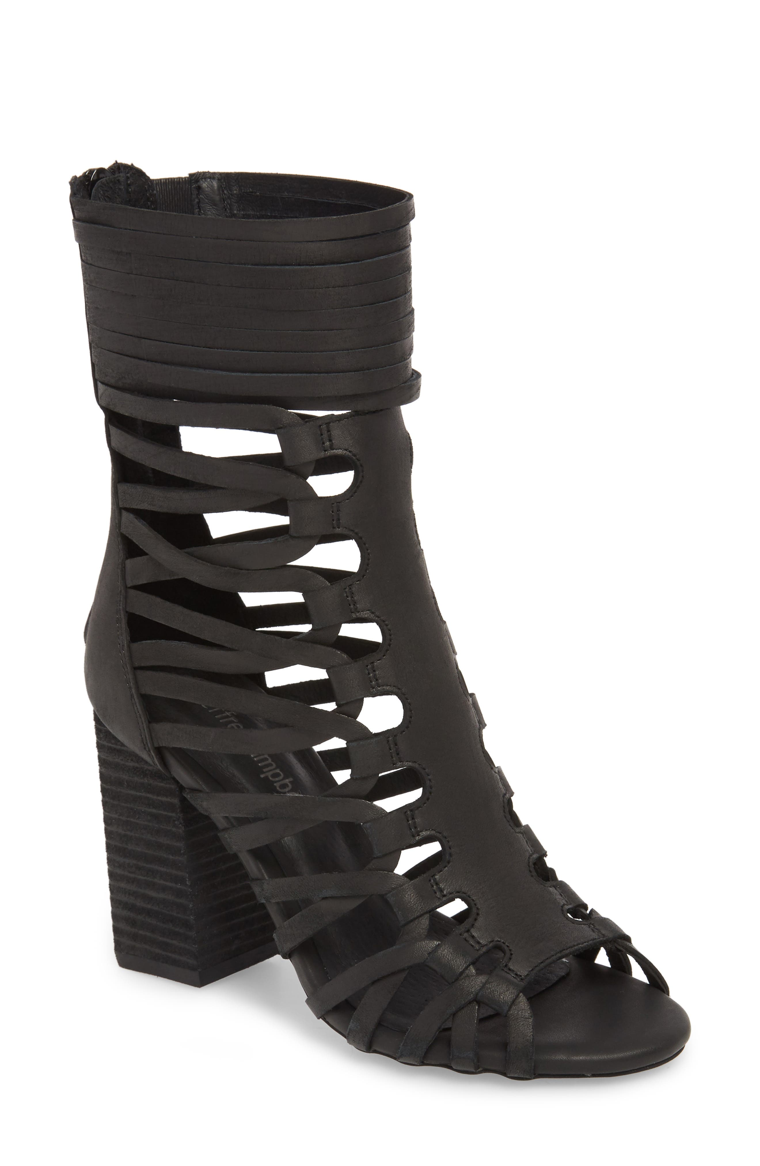 Despacito Bootie,                         Main,                         color, Black Distressed Leather