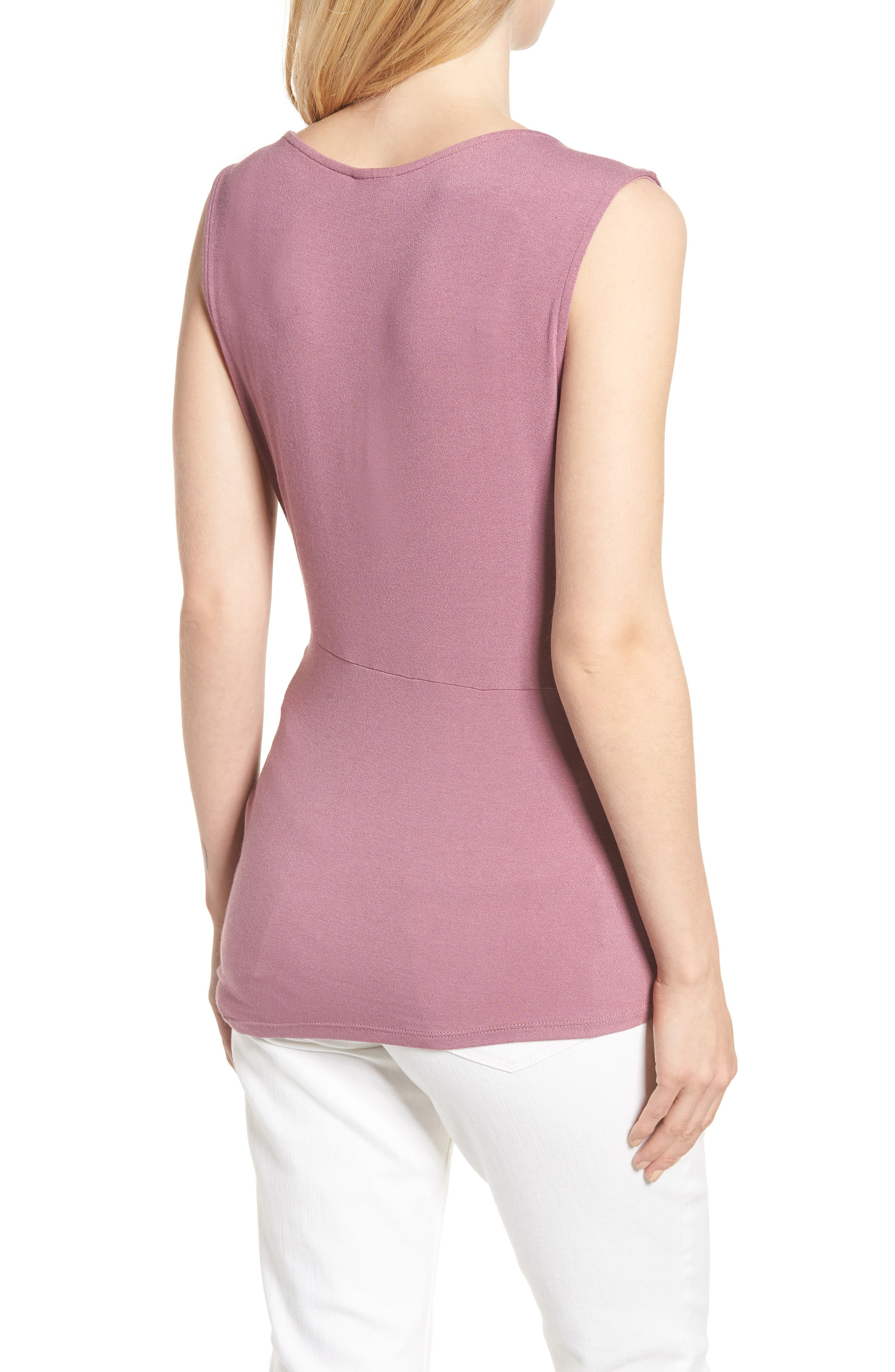 Side Knot Ruched Tank Top,                             Alternate thumbnail 2, color,                             Mauve