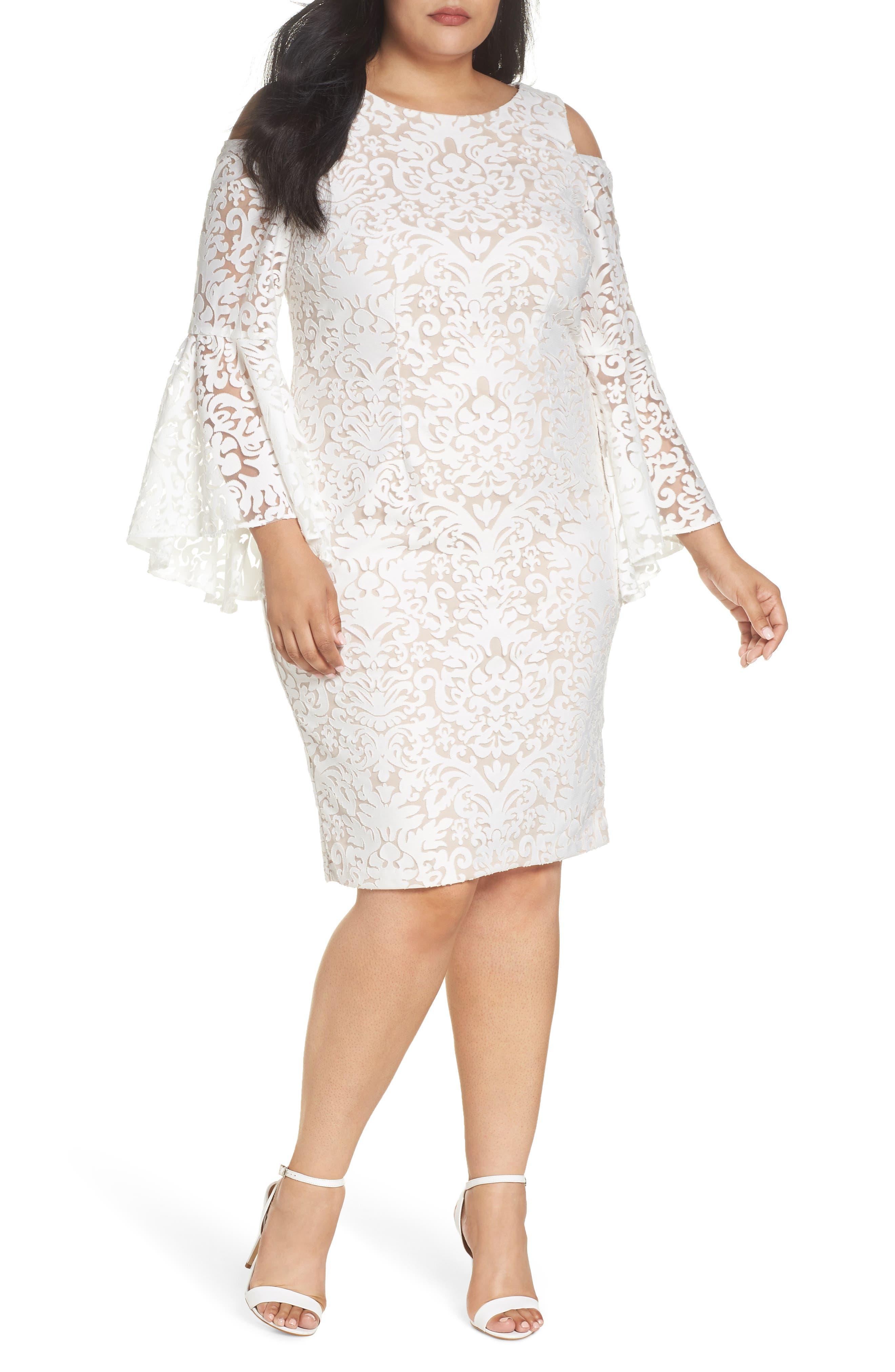 Main Image - Xscape Lace Bell Sleeve Sheath Dress (Plus Size)