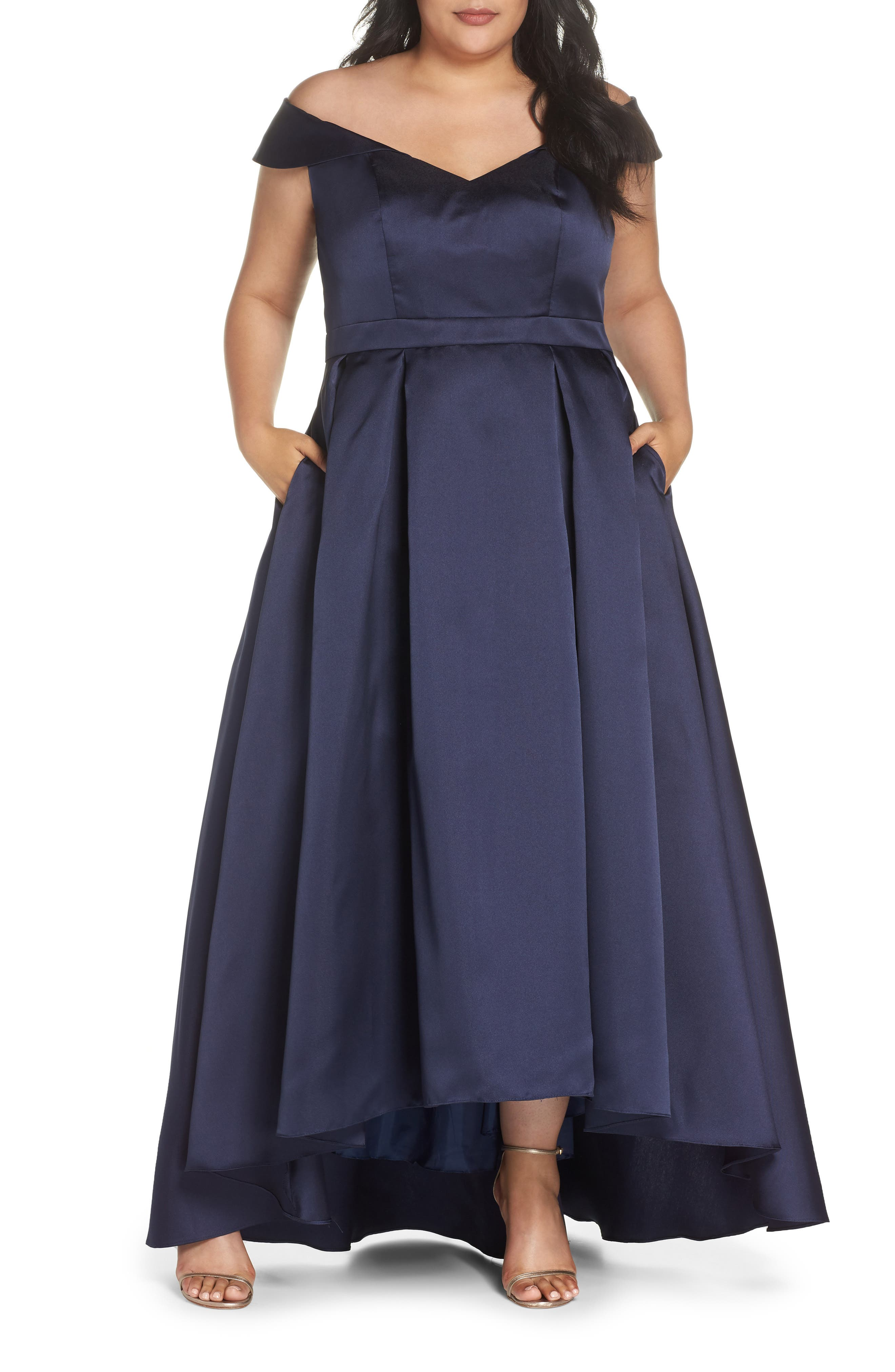 Off the Shoulder Mikado High/Low Gown,                             Main thumbnail 1, color,                             Navy