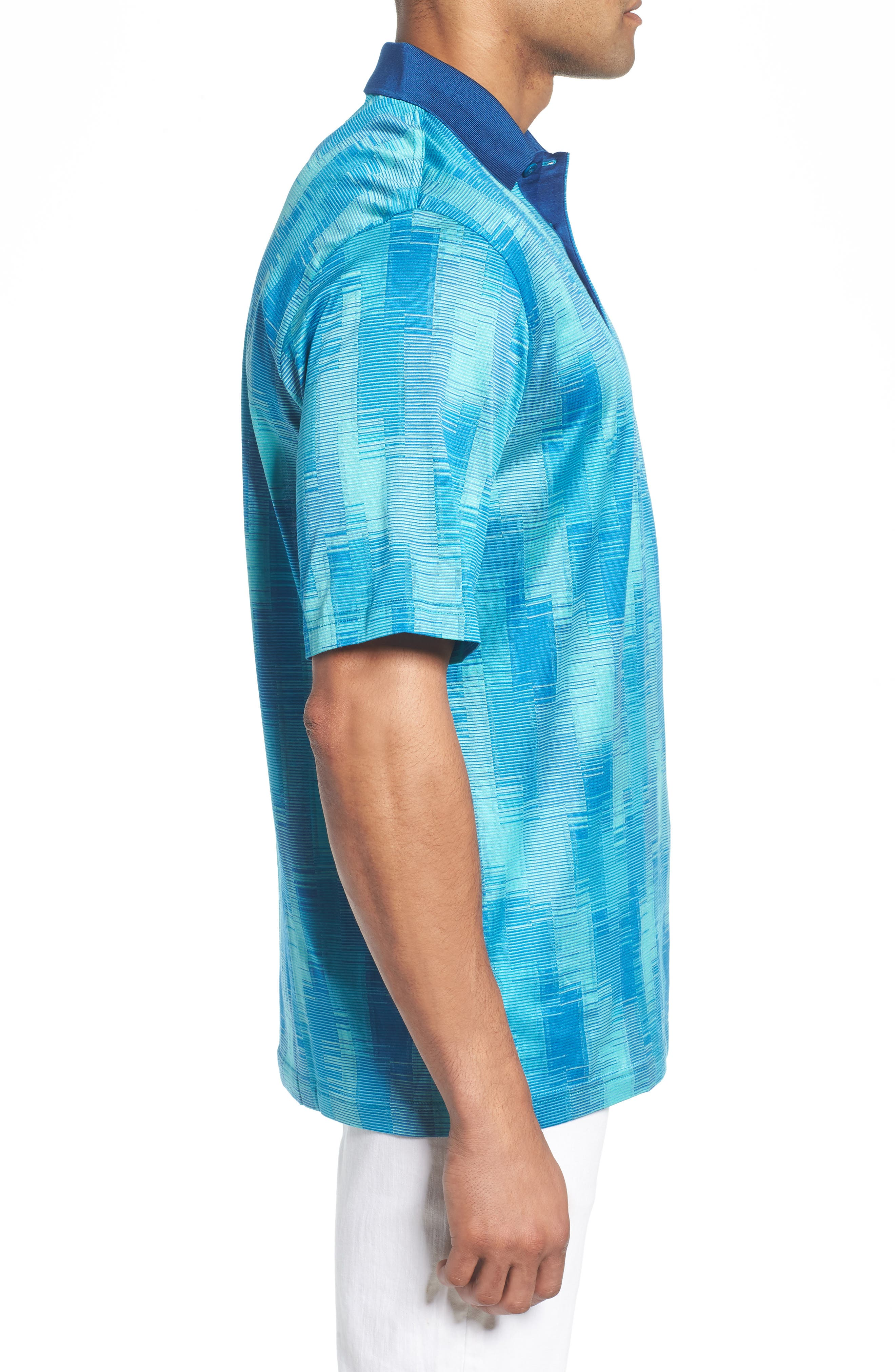Abstract Stripe Mercerized Cotton Polo,                             Alternate thumbnail 3, color,                             Turquoise