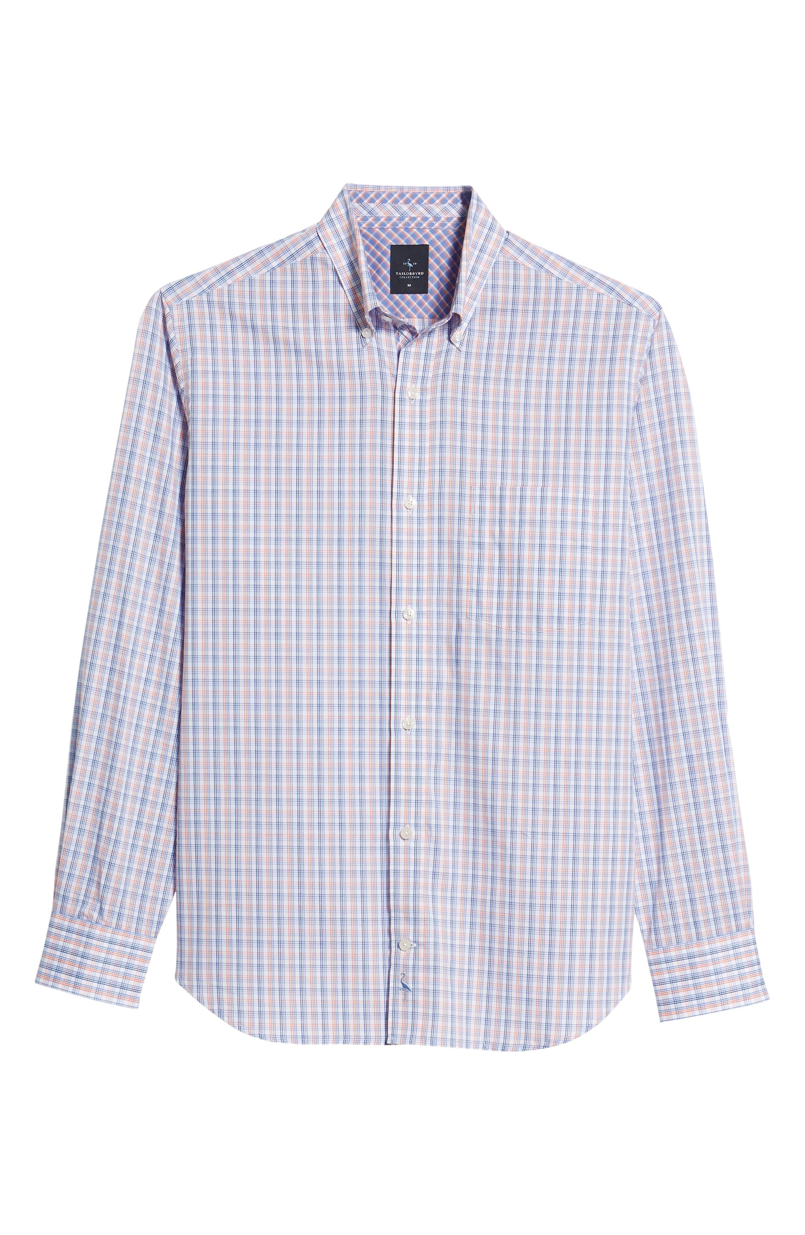 Javion Regular Fit Check Sport Shirt,                             Alternate thumbnail 6, color,                             Orange