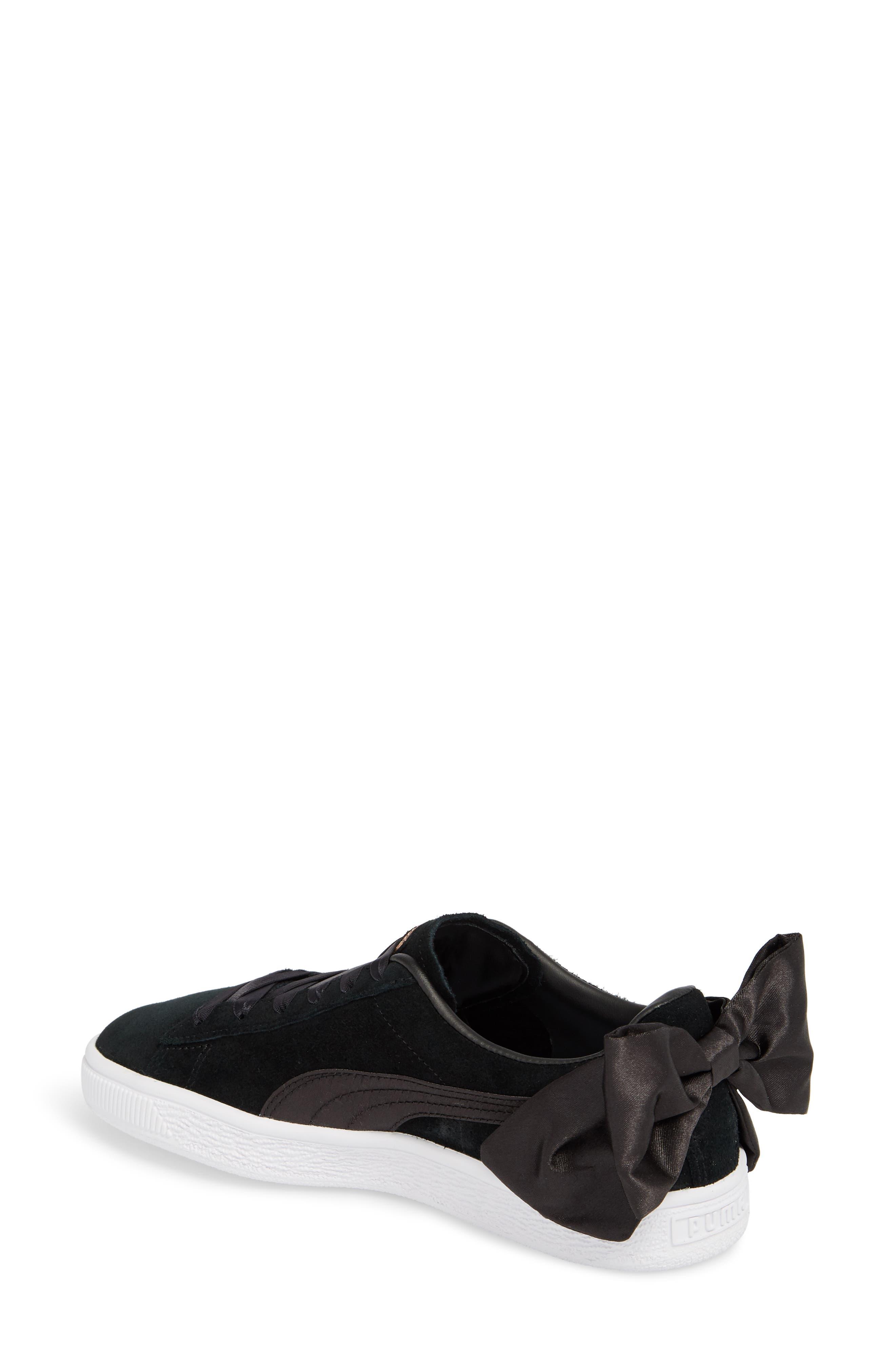 Bow Sneaker,                             Alternate thumbnail 2, color,                             Black/ Black
