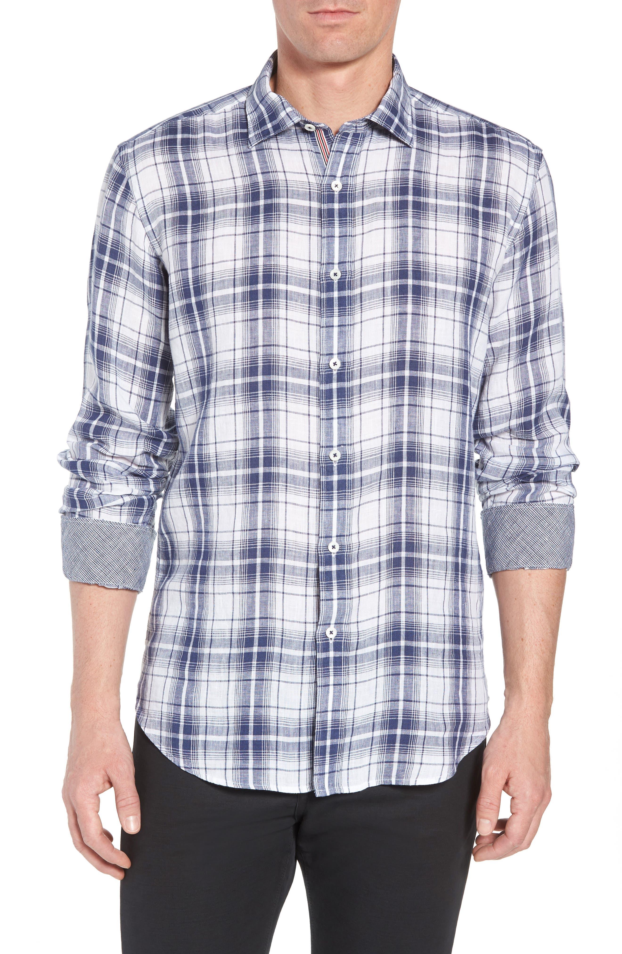 Shaped Fit Plaid Linen Sport Shirt,                             Main thumbnail 1, color,                             Navy