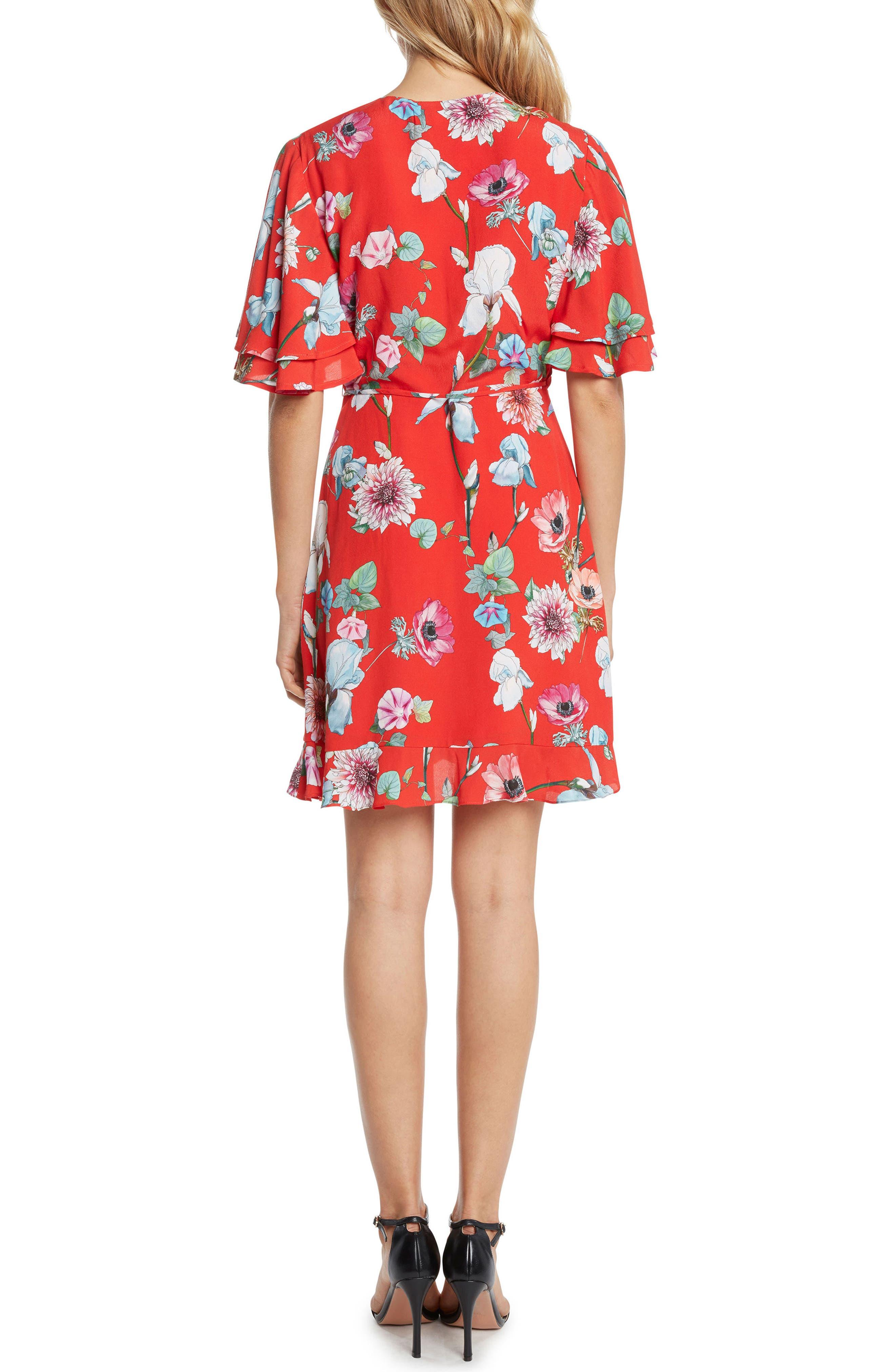 Floral Wrap Dress,                             Alternate thumbnail 2, color,                             Lipstick