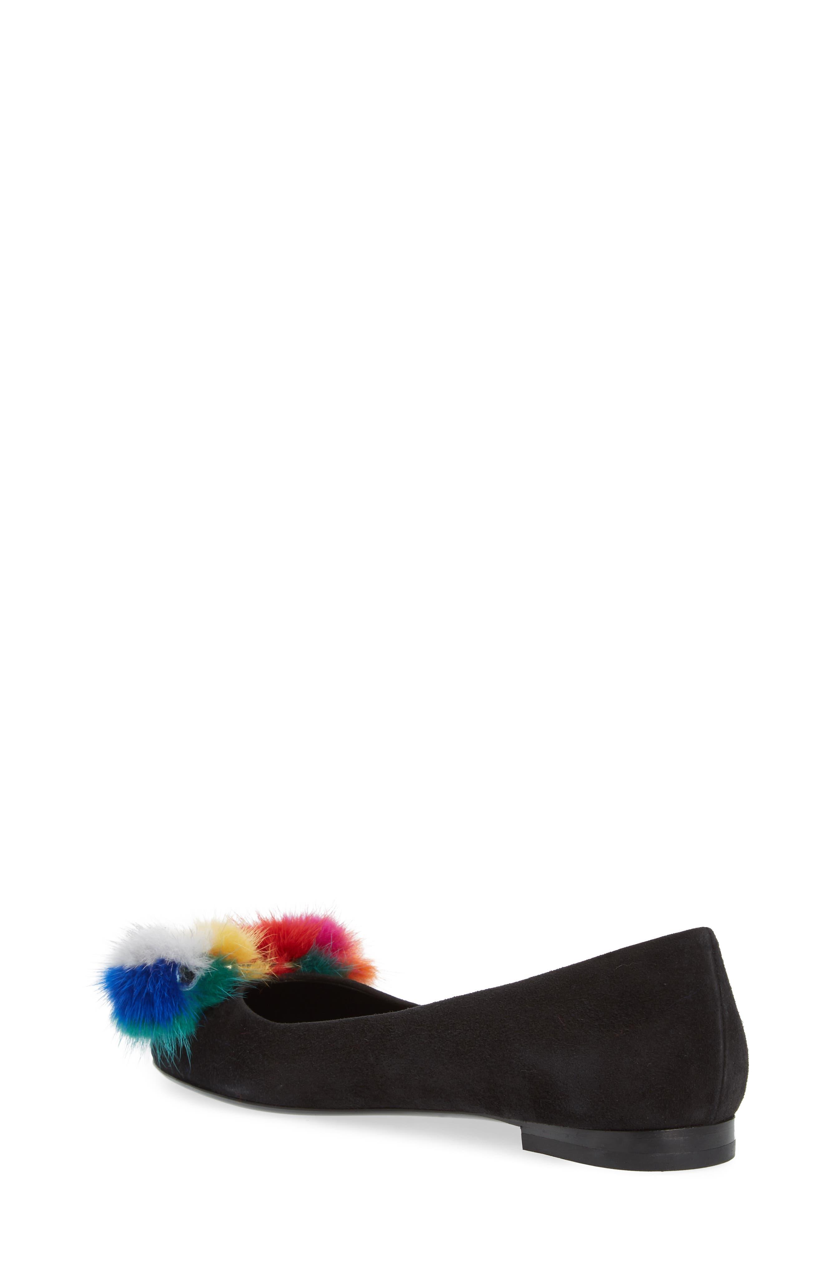 Varina Genuine Mink Fur Flat,                             Alternate thumbnail 2, color,                             Black/ Rainbow