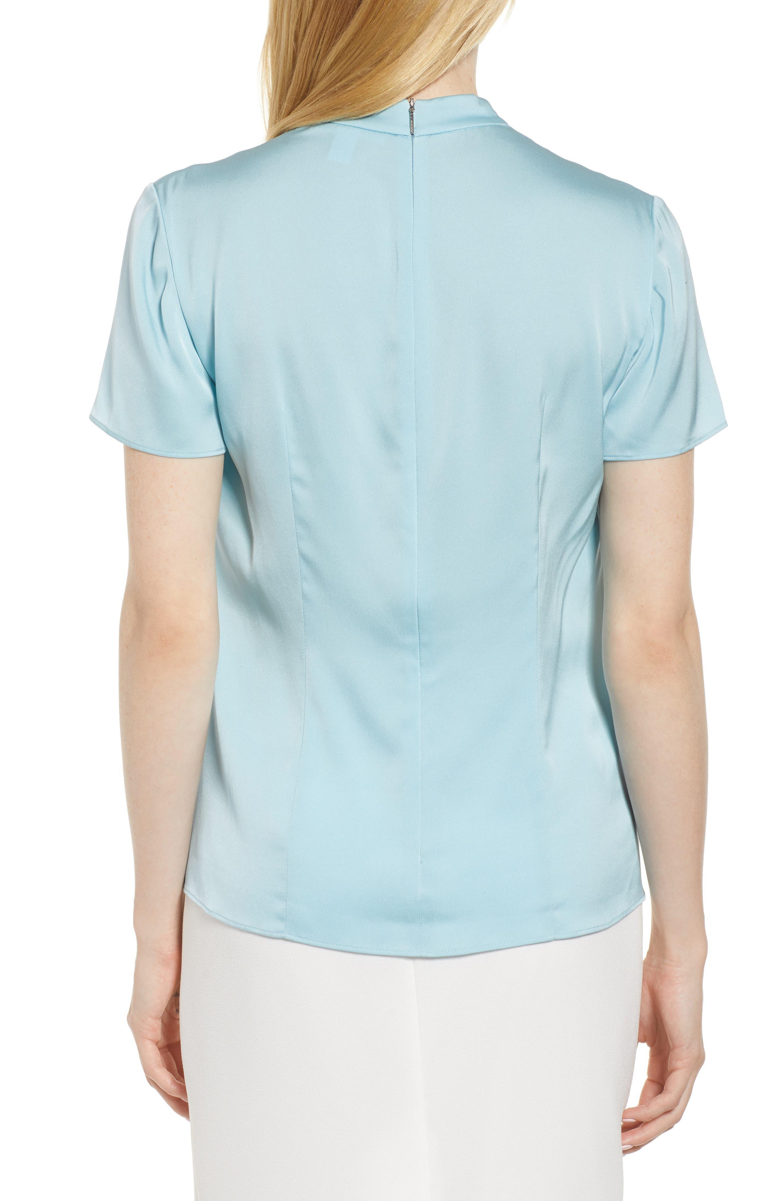 Insina Stretch Silk Blouse,                             Alternate thumbnail 2, color,                             Lagoon Blue