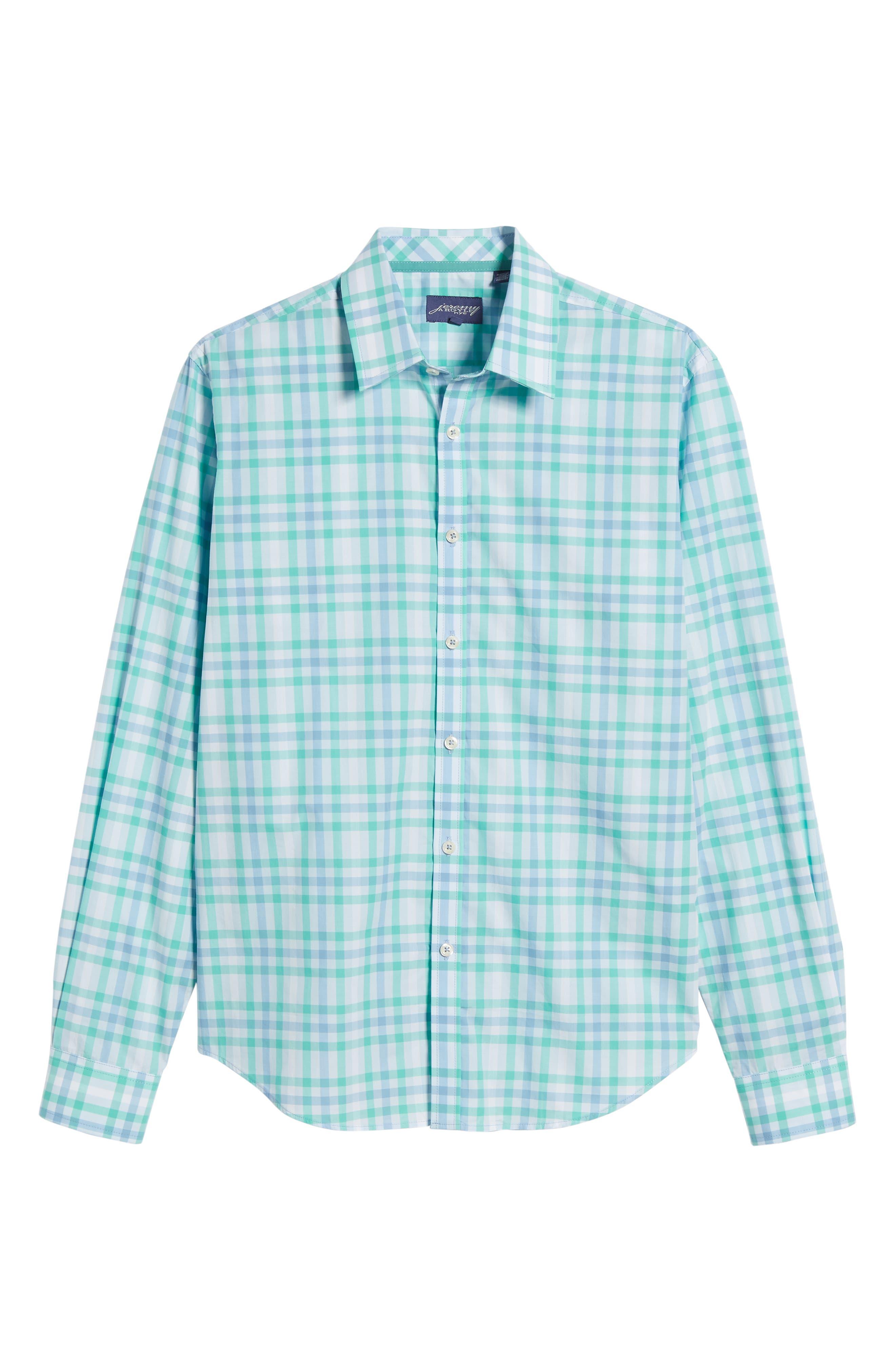 Slim Fit Check Sport Shirt,                             Alternate thumbnail 6, color,                             Turquoise