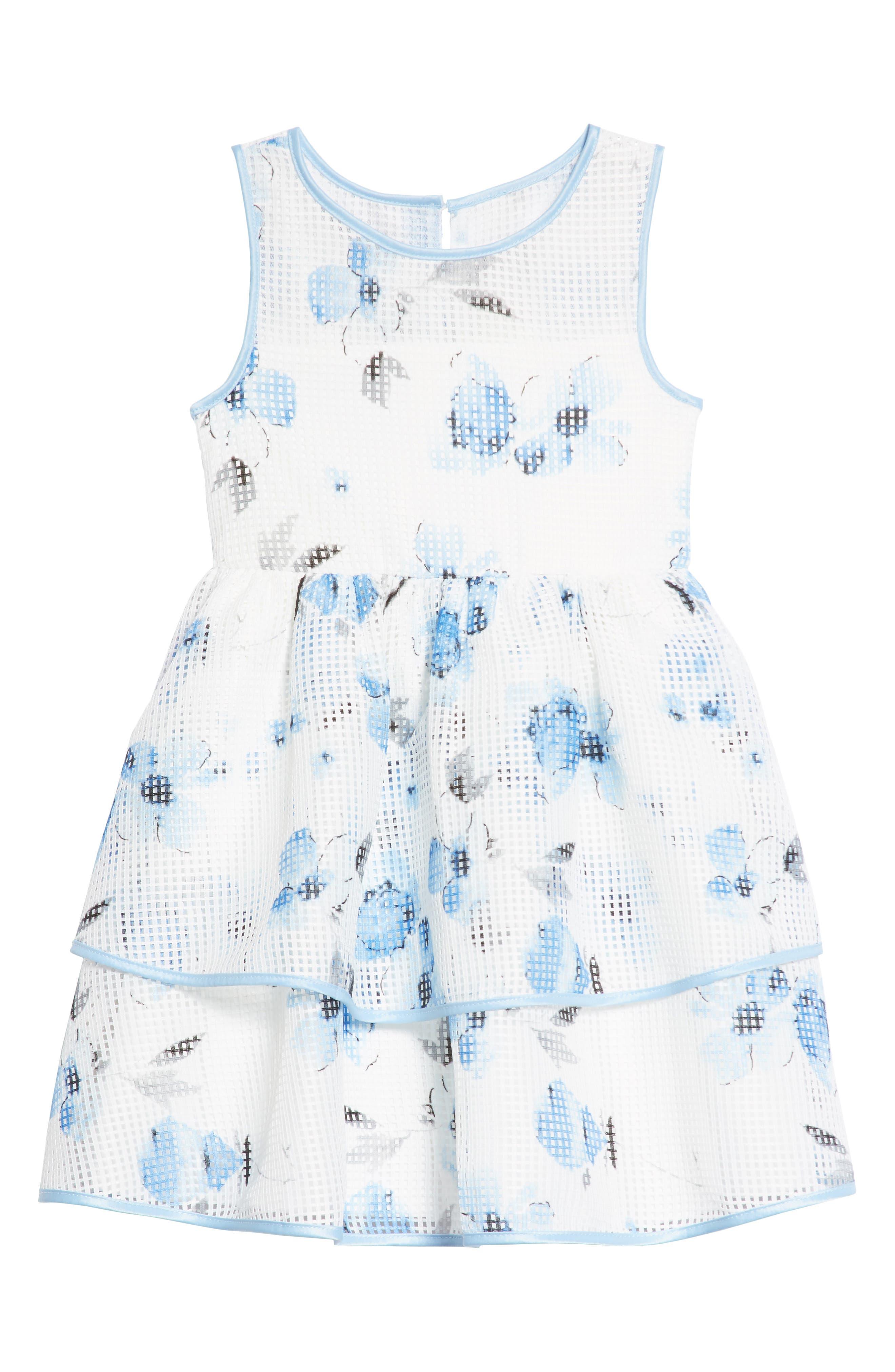 Frais Floral Print Mesh Dress (Toddler Girls, Little Girls & Big Girls)