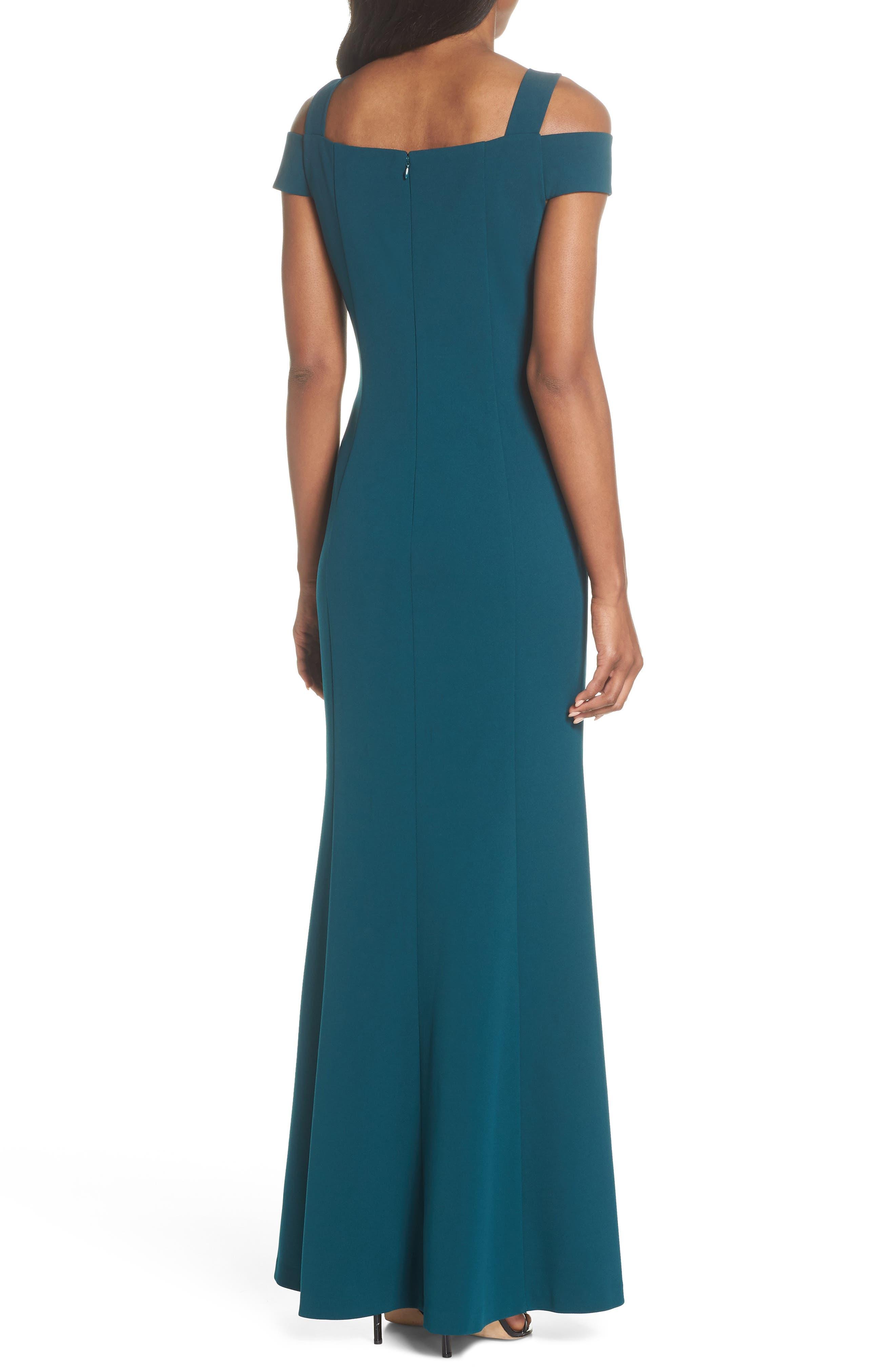Cold Shoulder Scuba Crepe Trumpet Gown,                             Alternate thumbnail 2, color,                             Emerald