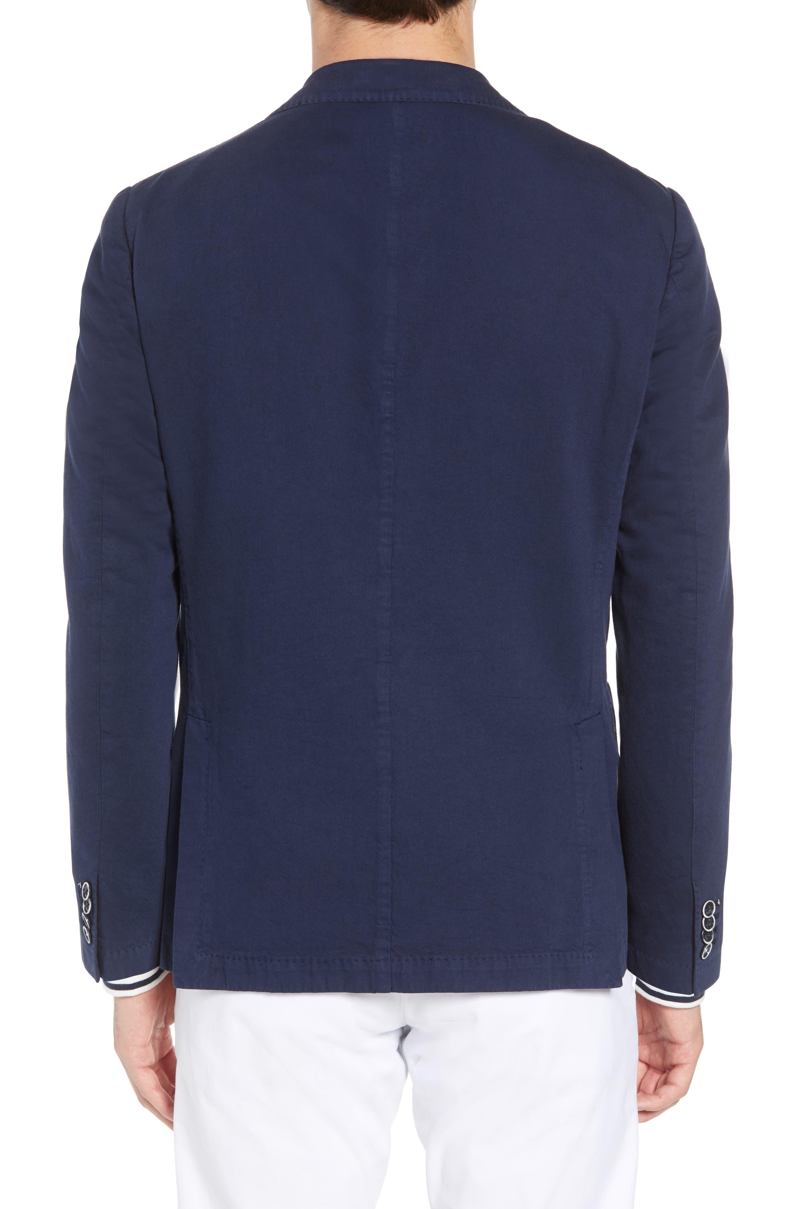 Unstructured Cotton & Linen Blazer,                             Alternate thumbnail 2, color,                             Navy