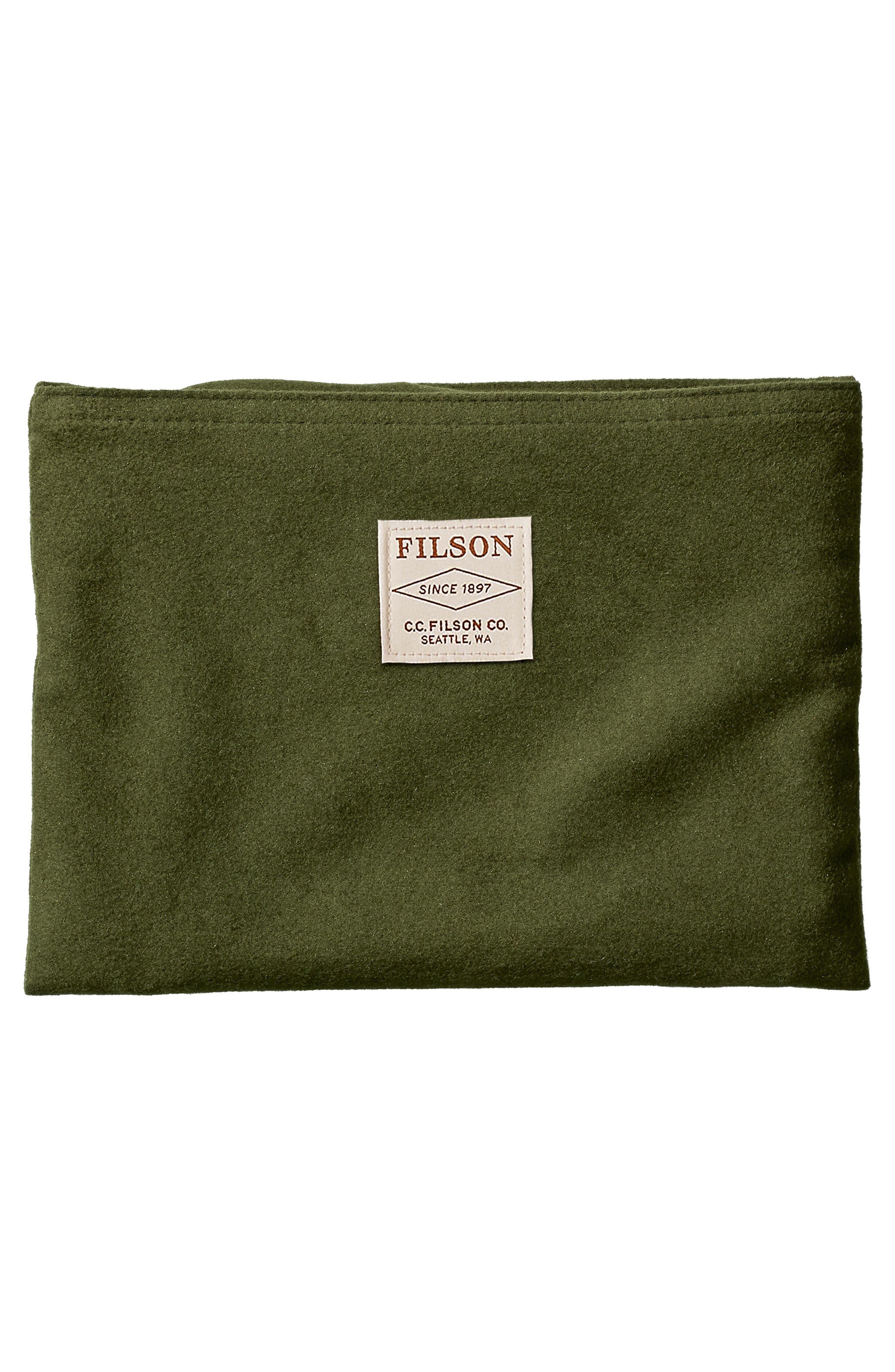 Medium Leather Zipper Pouch,                             Alternate thumbnail 2, color,                             Moss