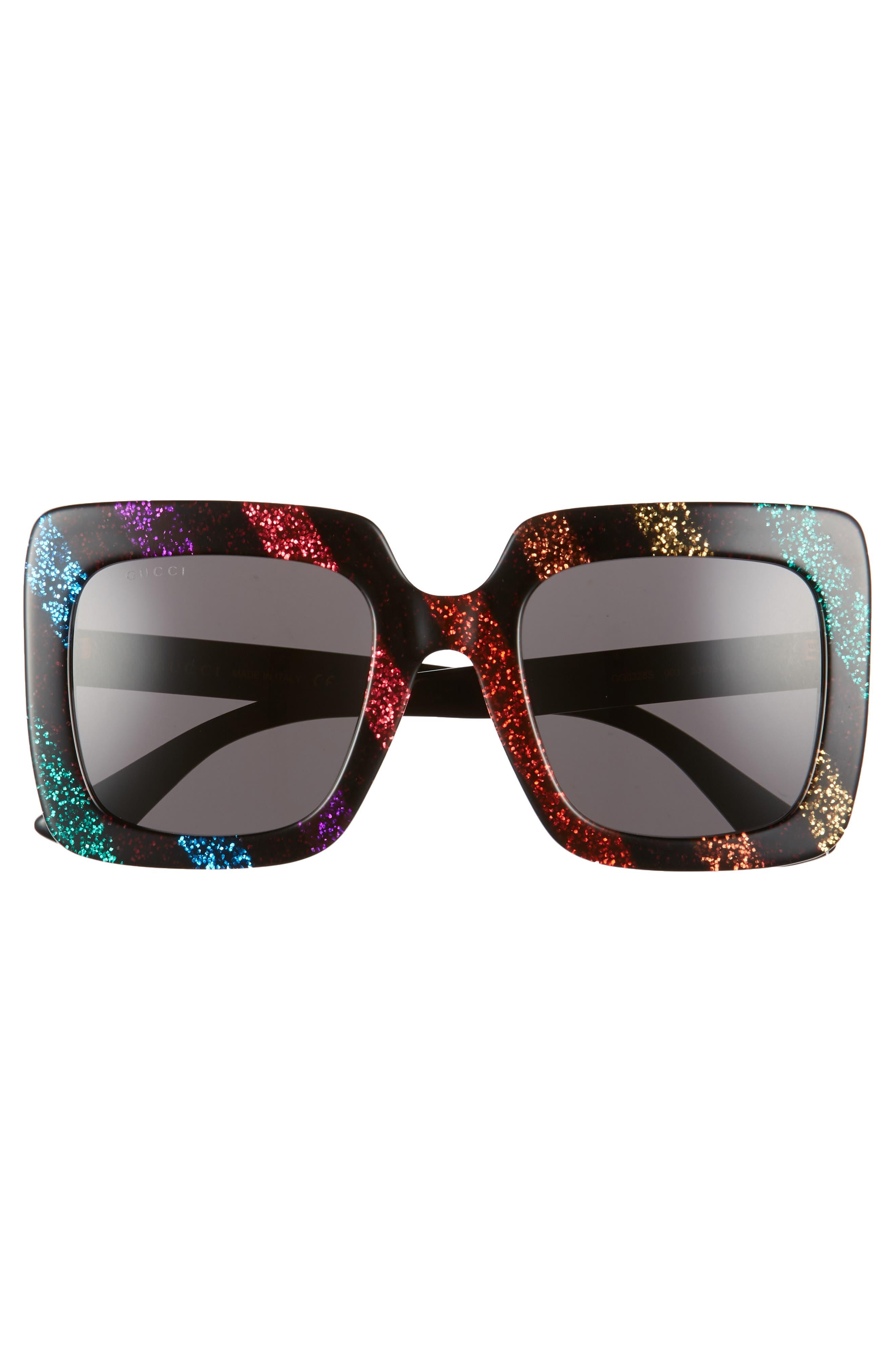 53mm Glitter Stripe Square Sunglasses,                             Alternate thumbnail 3, color,                             Rainbow